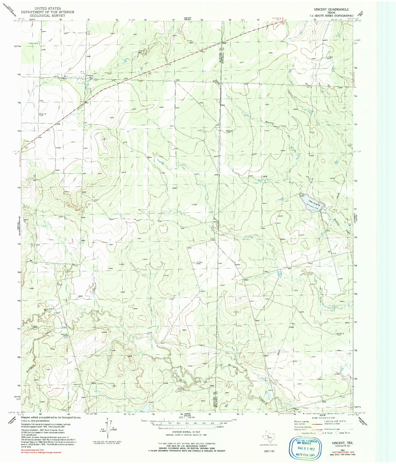 USGS 1:24000-SCALE QUADRANGLE FOR VINCENT, TX 1951