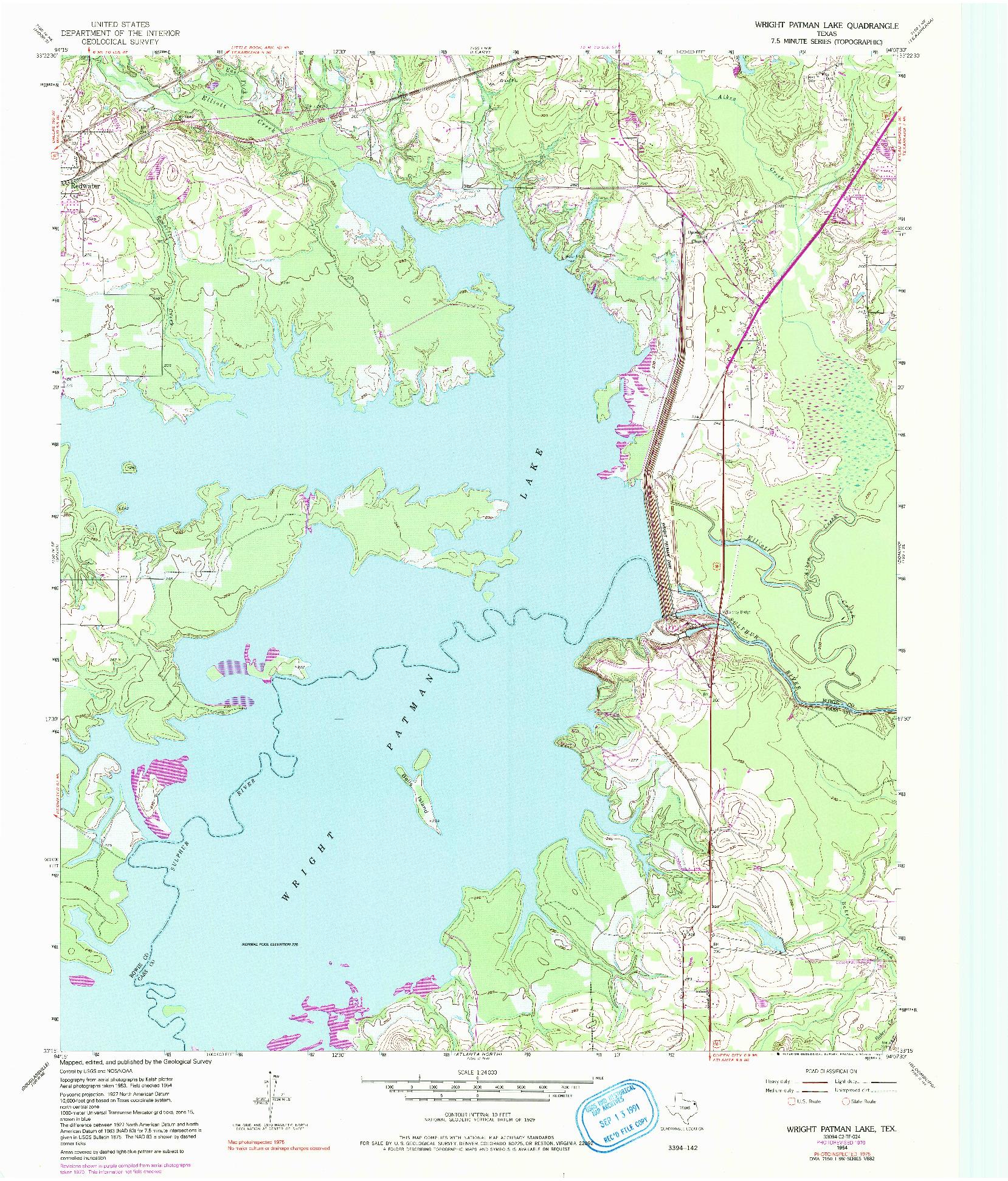 USGS 1:24000-SCALE QUADRANGLE FOR WRIGHT PATMAN LAKE, TX 1954