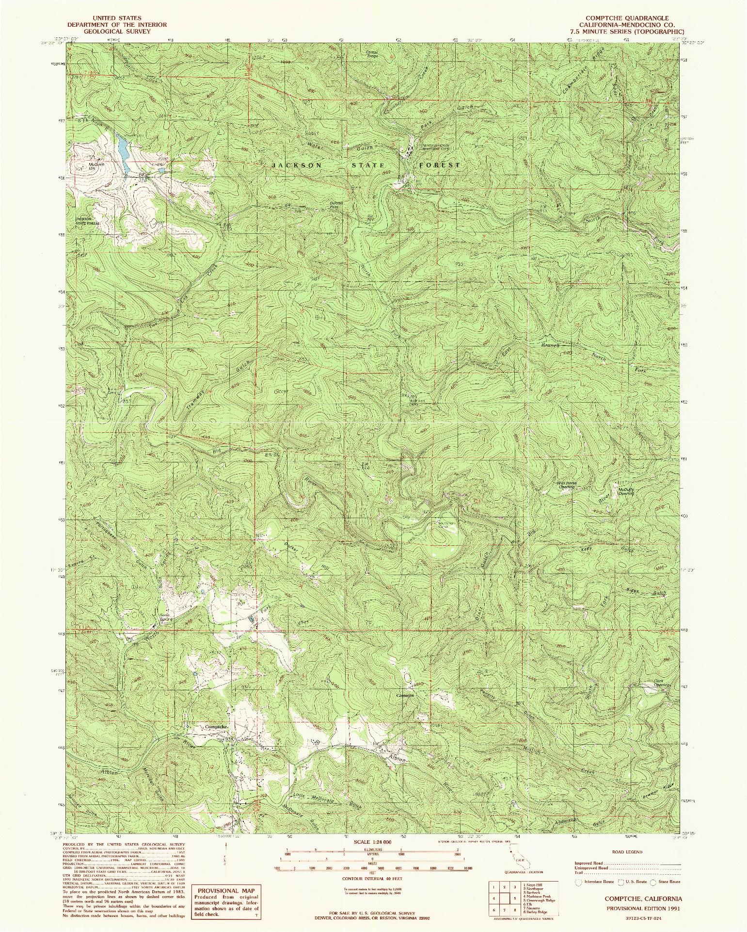 USGS 1:24000-SCALE QUADRANGLE FOR COMPTCHE, CA 1991
