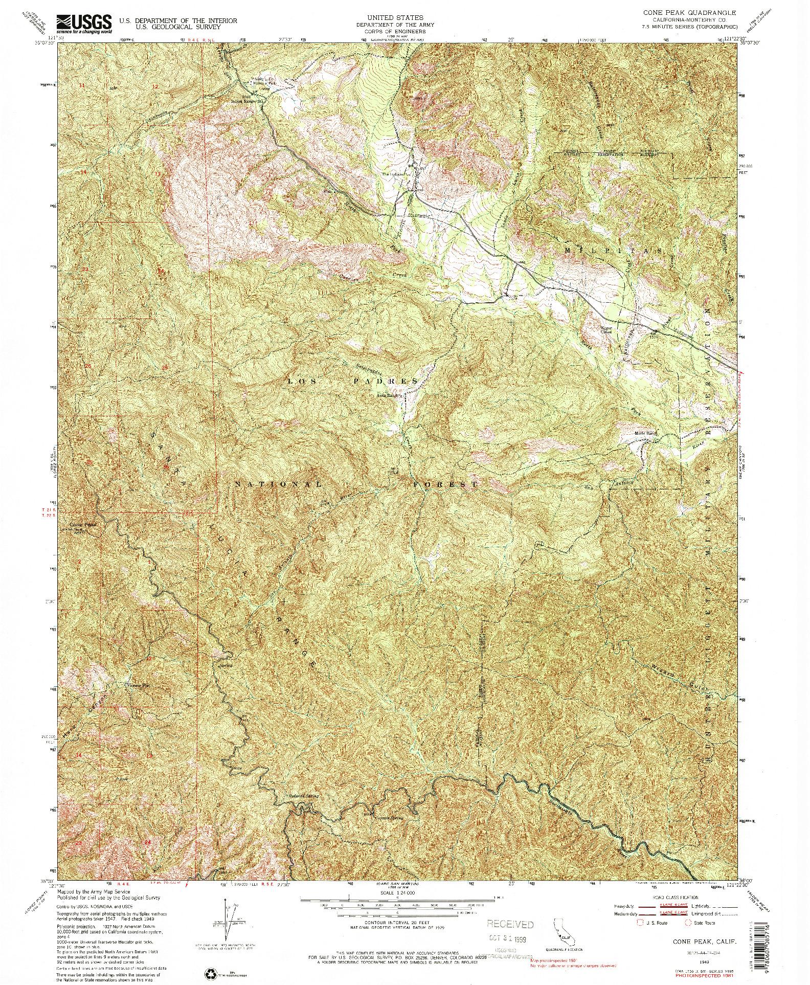 USGS 1:24000-SCALE QUADRANGLE FOR CONE PEAK, CA 1949