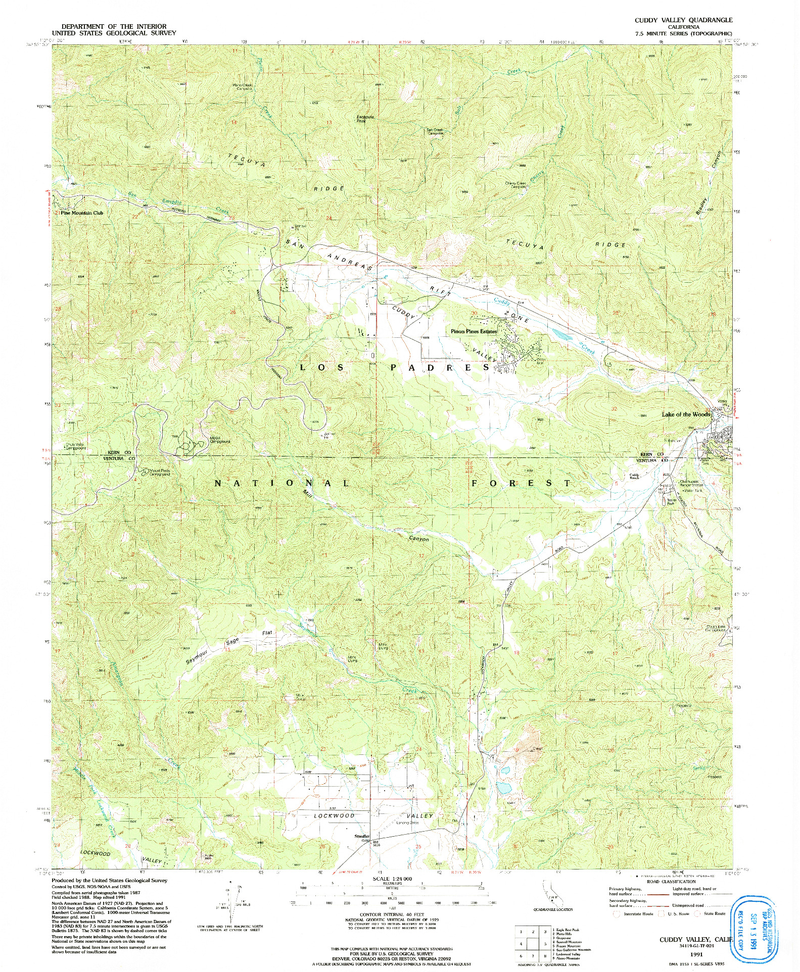USGS 1:24000-SCALE QUADRANGLE FOR CUDDY VALLEY, CA 1991