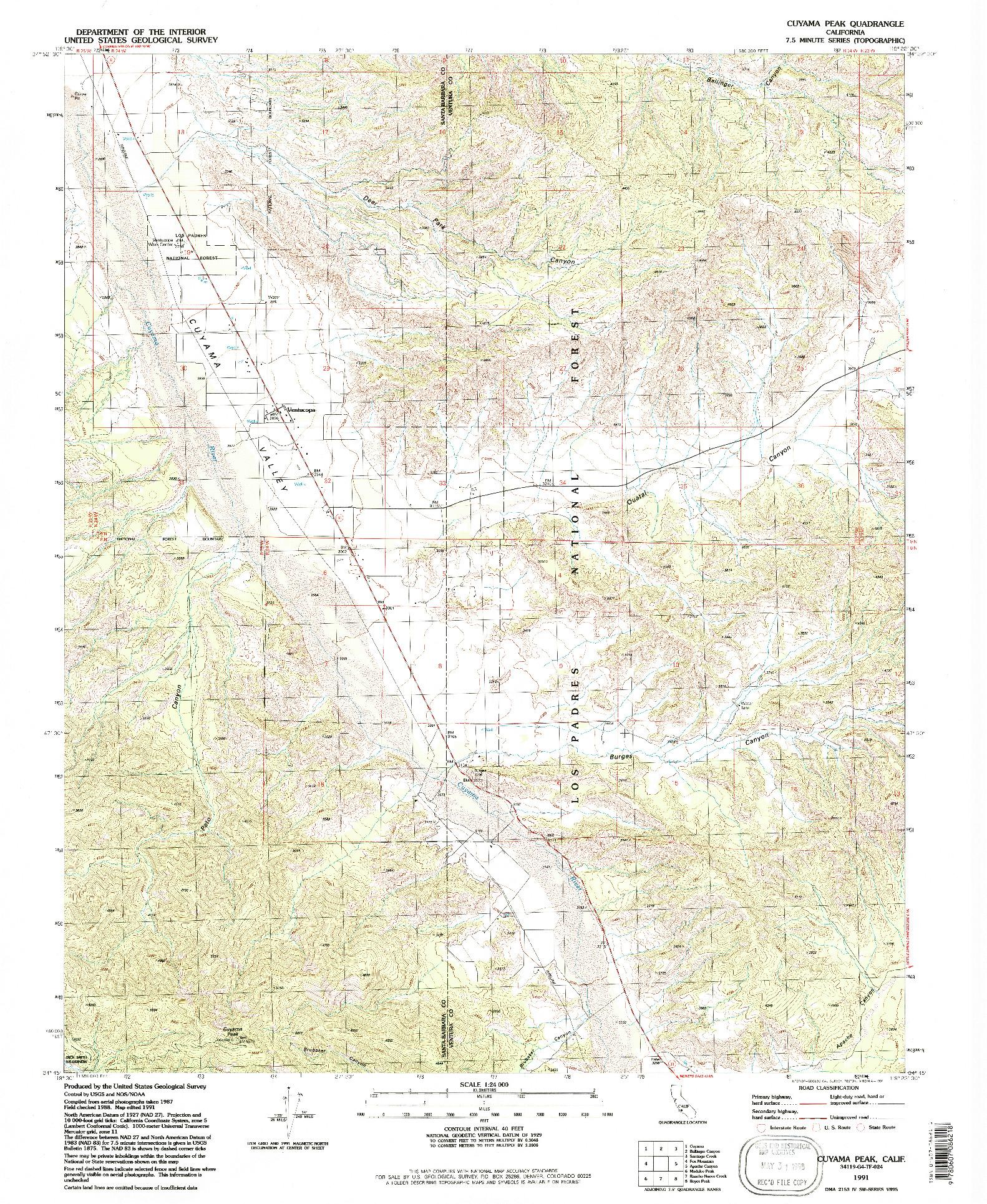 USGS 1:24000-SCALE QUADRANGLE FOR CUYAMA PEAK, CA 1991