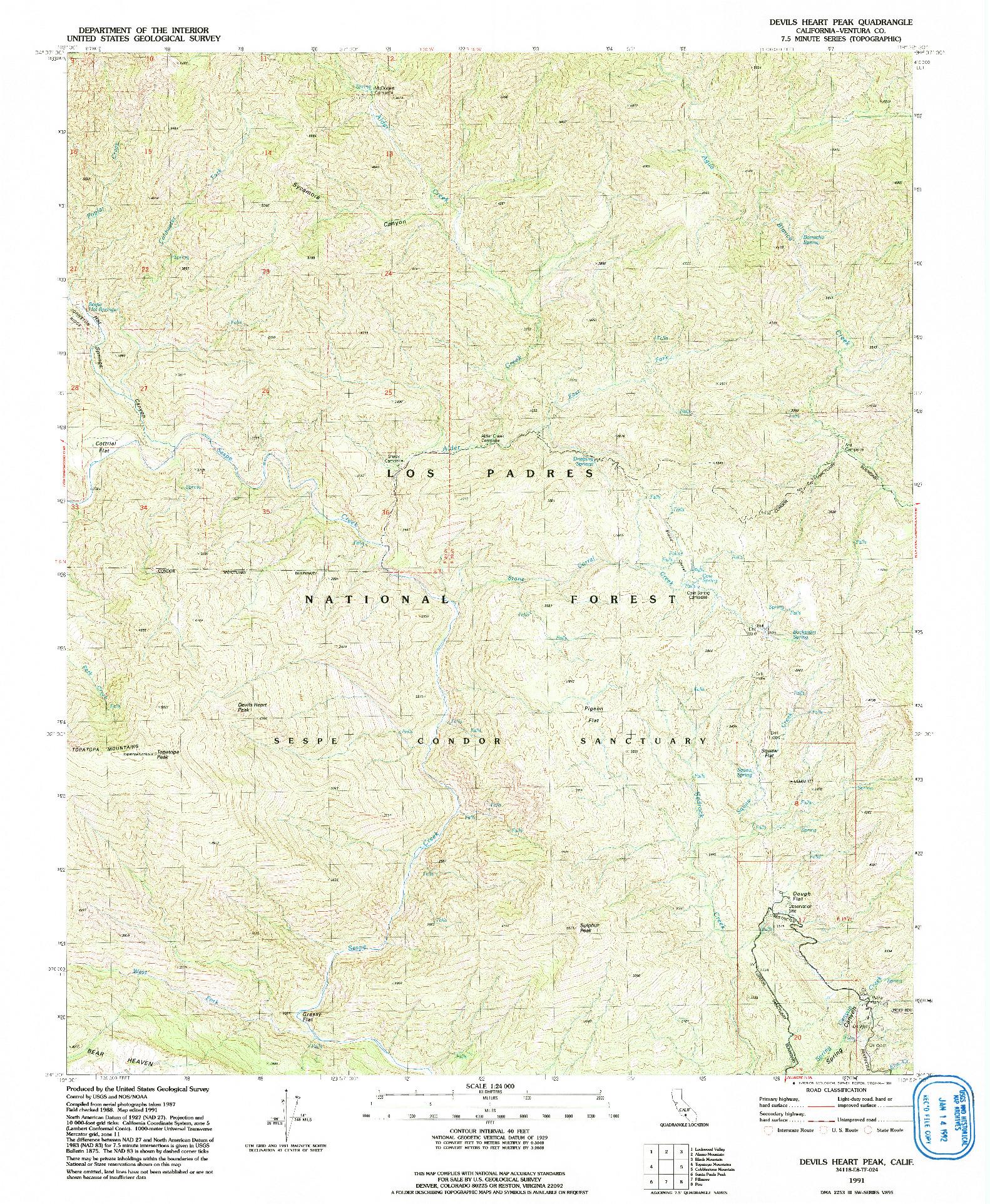 USGS 1:24000-SCALE QUADRANGLE FOR DEVILS HEART PEAK, CA 1991