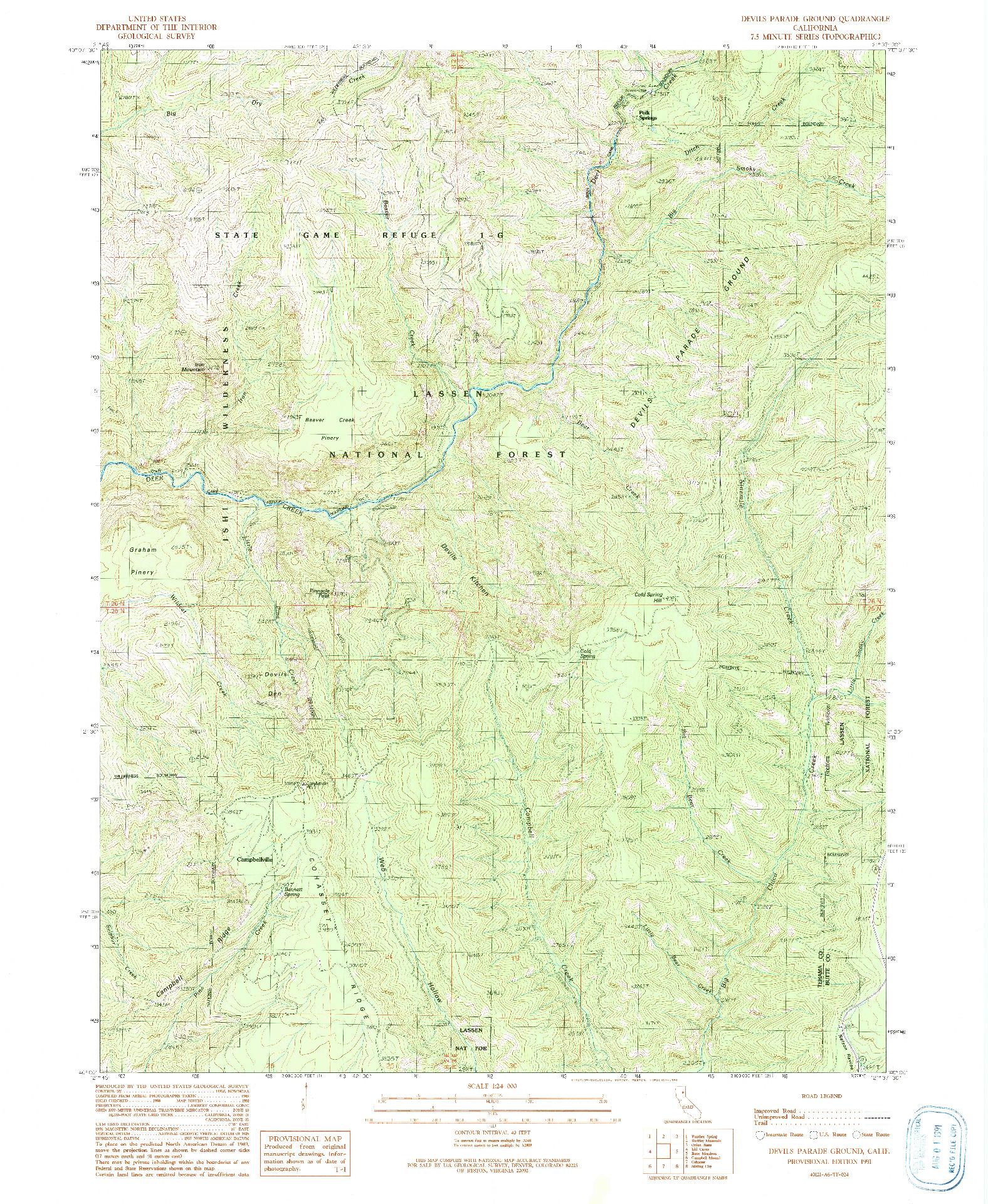 USGS 1:24000-SCALE QUADRANGLE FOR DEVILS PARADE GROUND, CA 1991