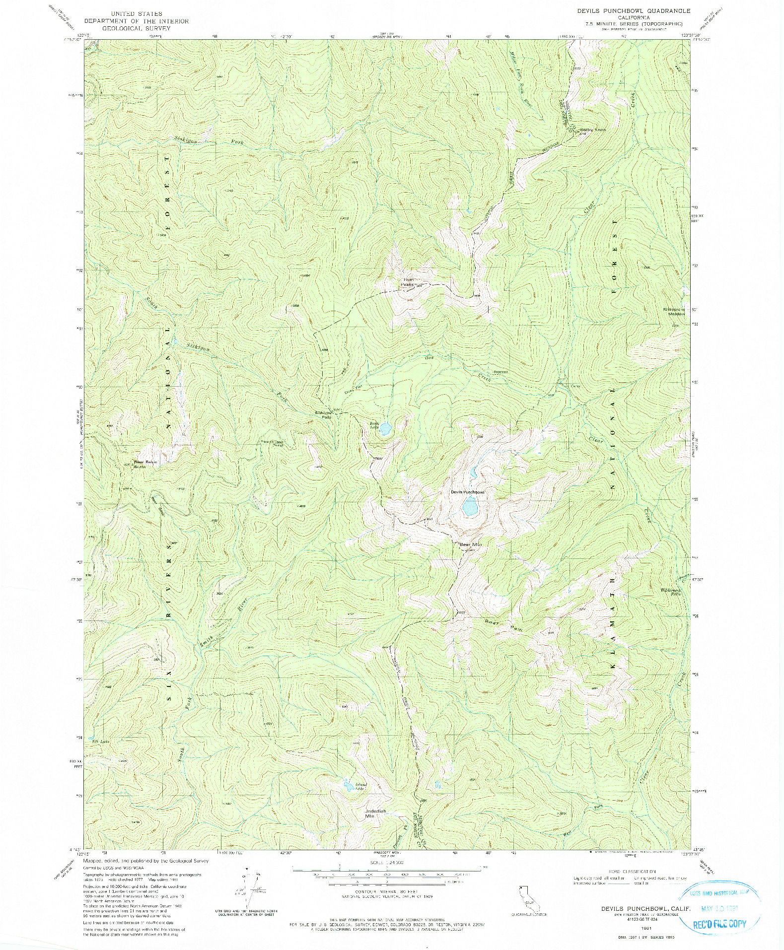 USGS 1:24000-SCALE QUADRANGLE FOR DEVILS PUNCHBOWL, CA 1981