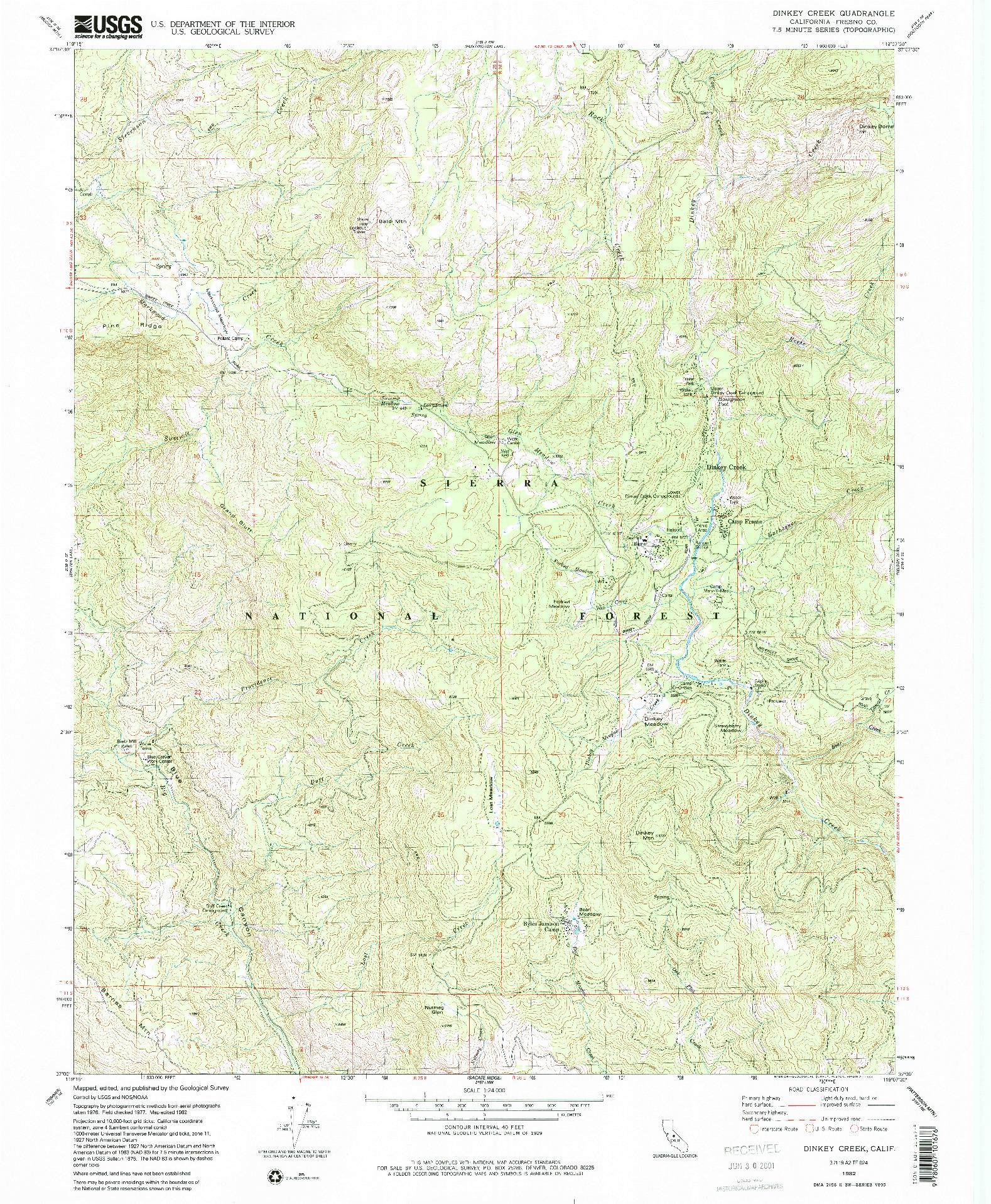 USGS 1:24000-SCALE QUADRANGLE FOR DINKEY CREEK, CA 1982