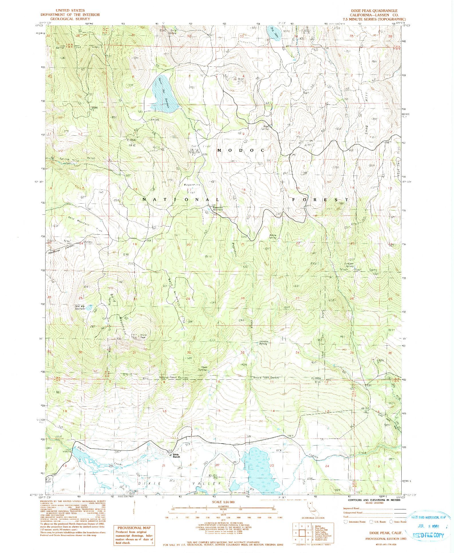 USGS 1:24000-SCALE QUADRANGLE FOR DIXIE PEAK, CA 1983