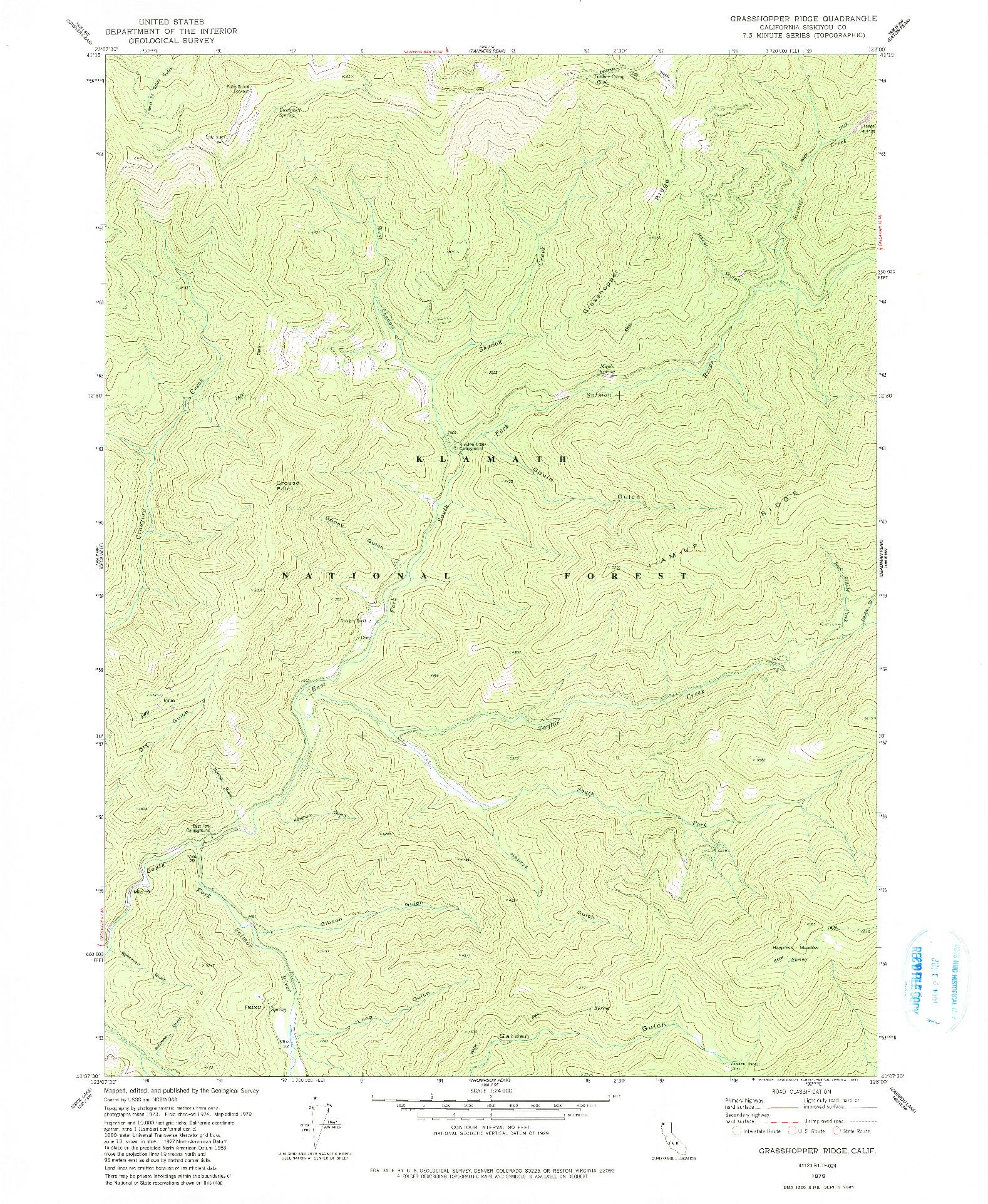 USGS 1:24000-SCALE QUADRANGLE FOR GRASSHOPPER RIDGE, CA 1979