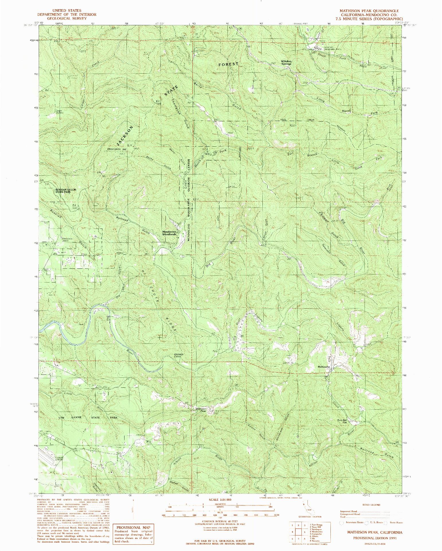 USGS 1:24000-SCALE QUADRANGLE FOR MATHISON PEAK, CA 1991