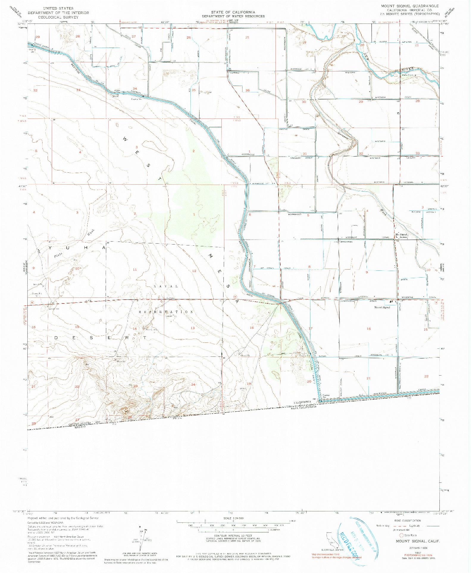 USGS 1:24000-SCALE QUADRANGLE FOR MOUNT SIGNAL, CA 1957