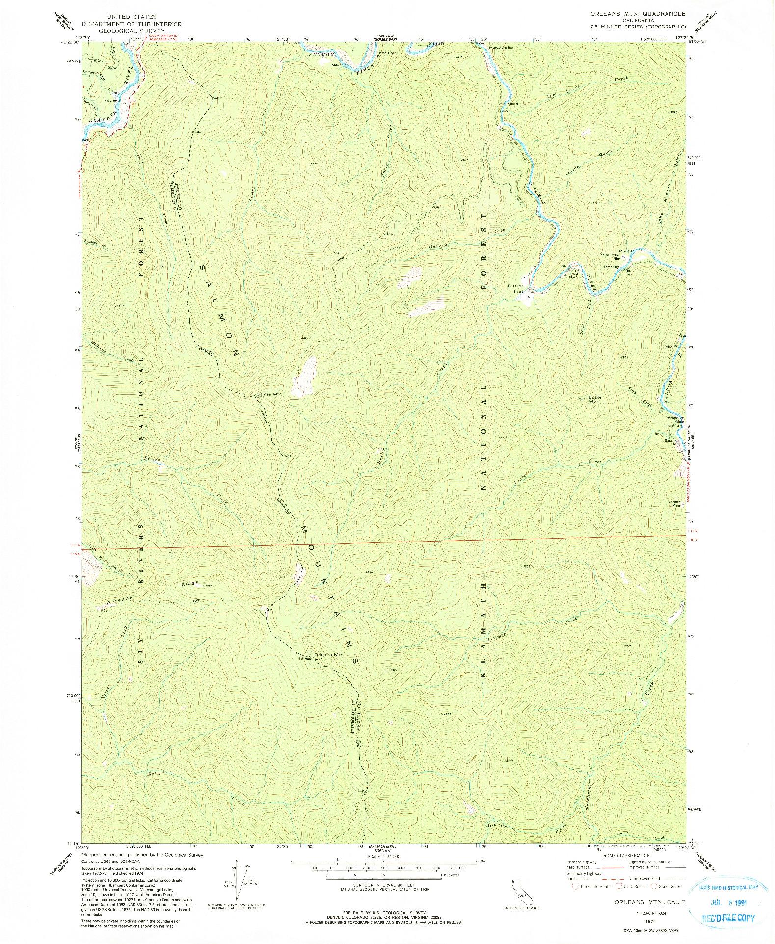 USGS 1:24000-SCALE QUADRANGLE FOR ORLEANS MTN., CA 1974