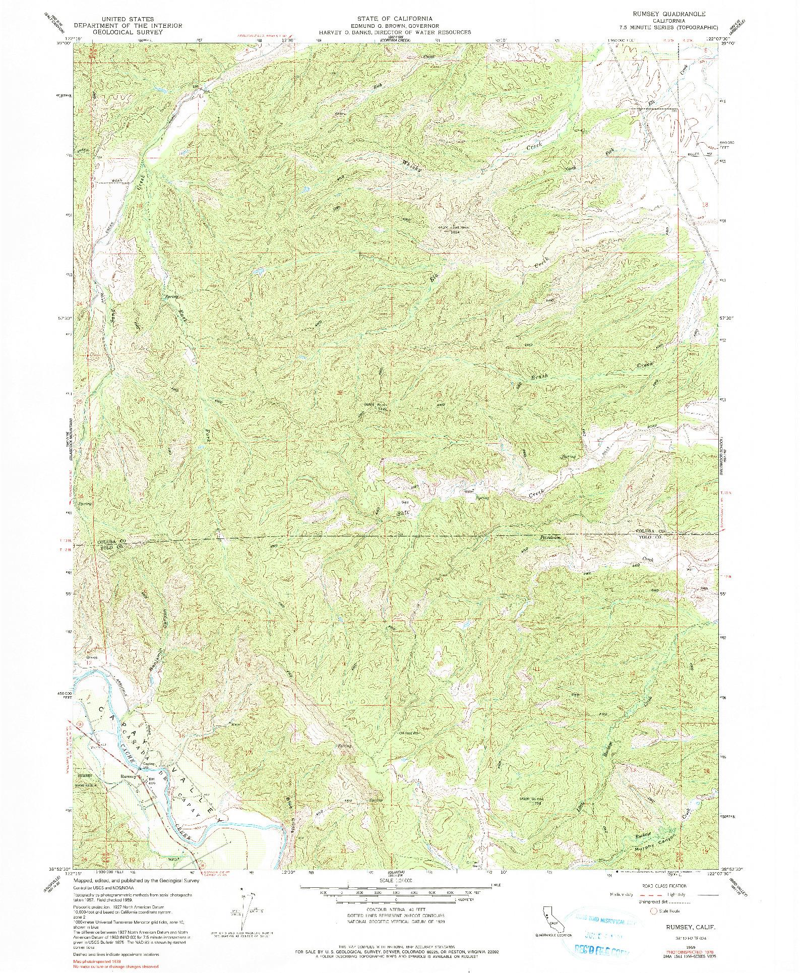 USGS 1:24000-SCALE QUADRANGLE FOR RUMSEY, CA 1959