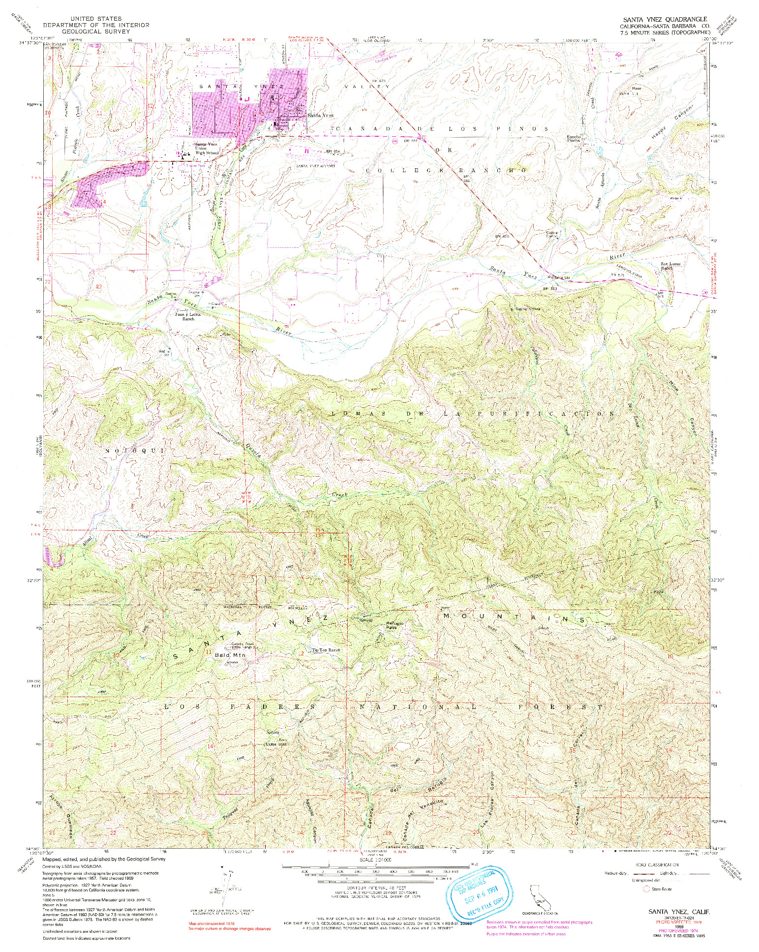 USGS 1:24000-SCALE QUADRANGLE FOR SANTA YNEZ, CA 1959