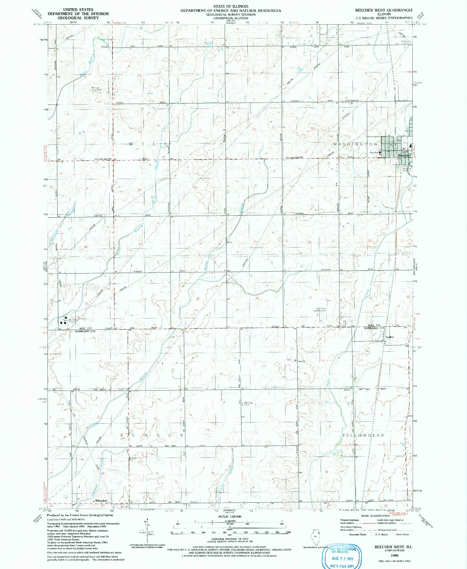 USGS 1:24000-SCALE QUADRANGLE FOR BEECHER WEST, IL 1990