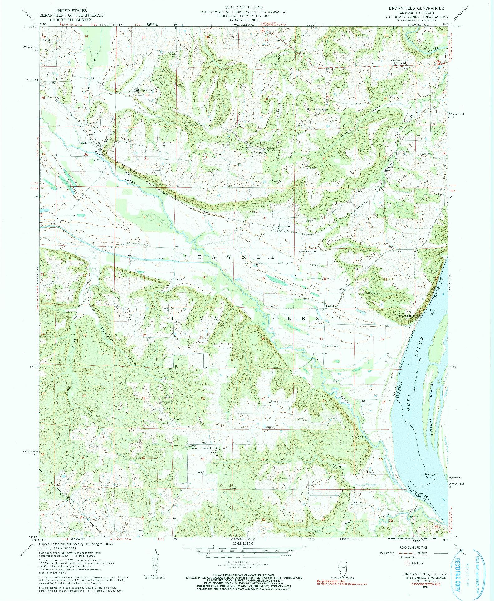 USGS 1:24000-SCALE QUADRANGLE FOR BROWNFIELD, IL 1962