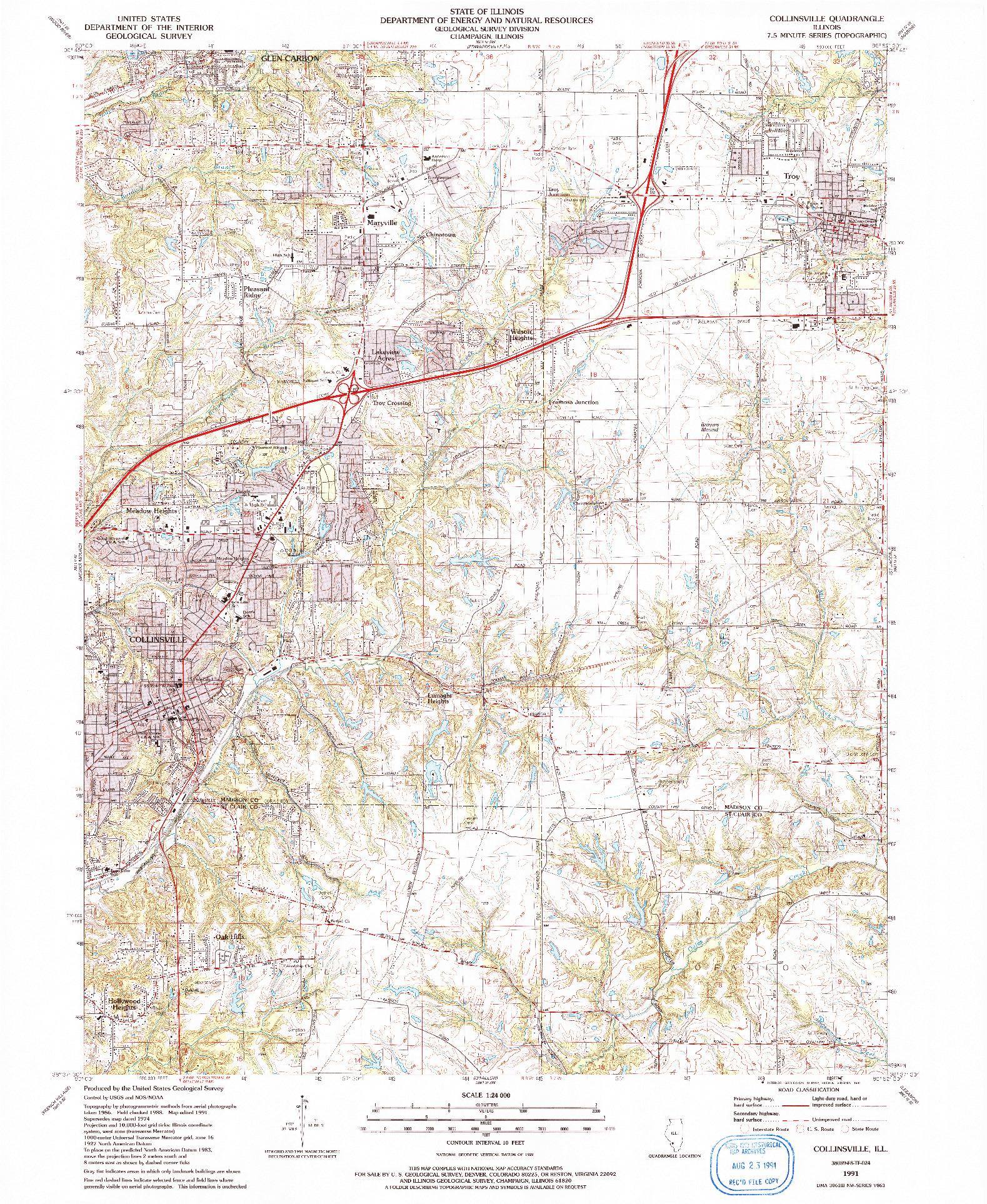 USGS 1:24000-SCALE QUADRANGLE FOR COLLINSVILLE, IL 1991