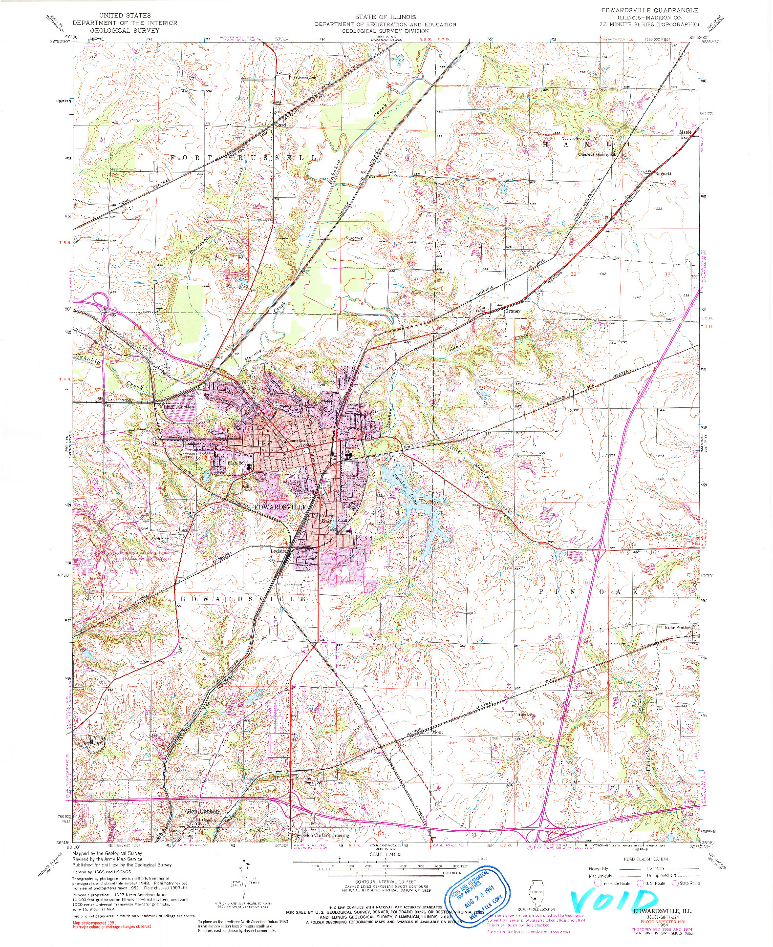 USGS 1:24000-SCALE QUADRANGLE FOR EDWARDSVILLE, IL 1954