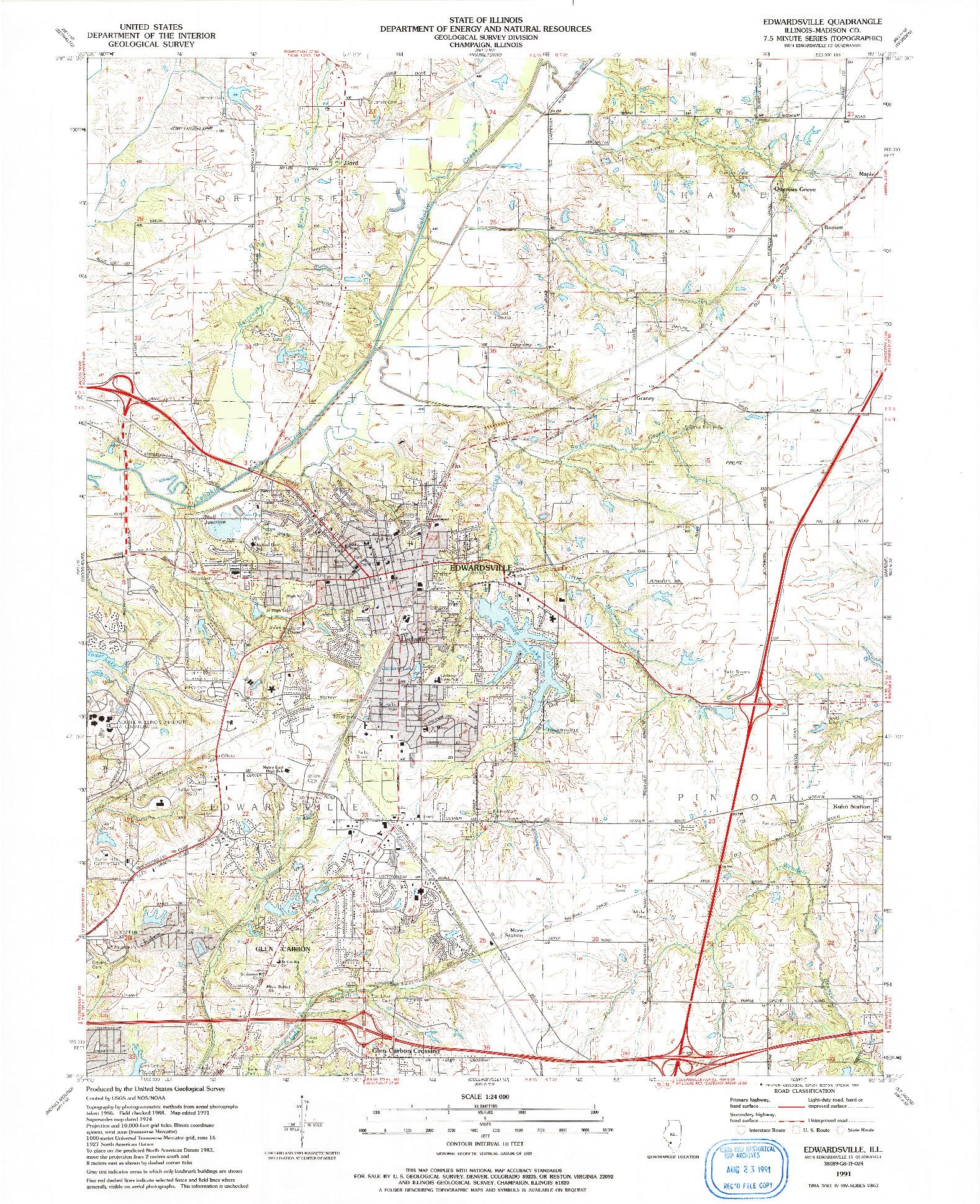 USGS 1:24000-SCALE QUADRANGLE FOR EDWARDSVILLE, IL 1991