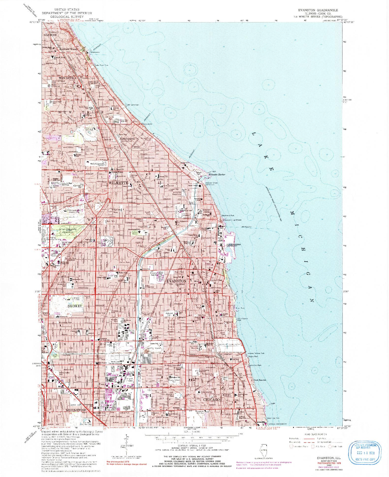 USGS 1:24000-SCALE QUADRANGLE FOR EVANSTON, IL 1963