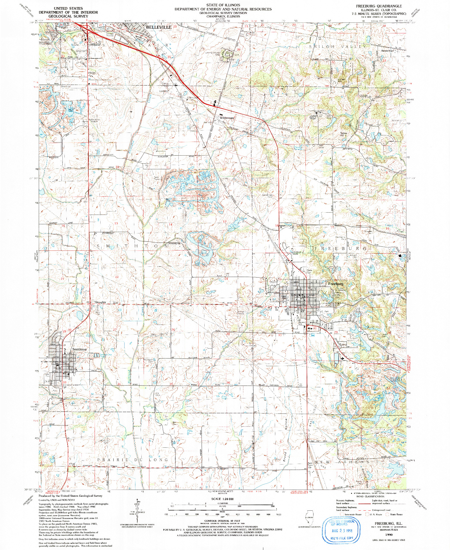 USGS 1:24000-SCALE QUADRANGLE FOR FREEBURG, IL 1990