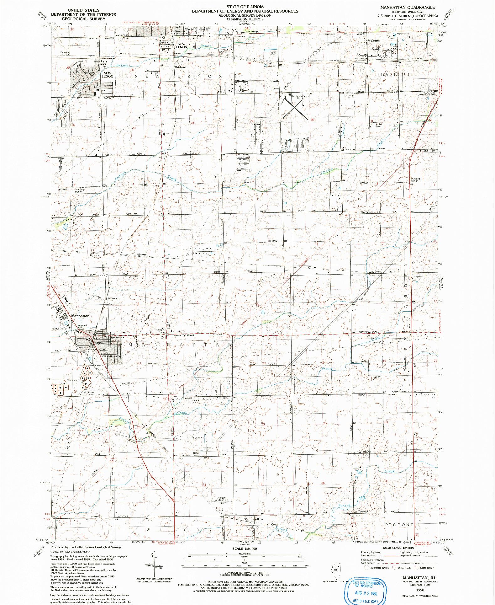 USGS 1:24000-SCALE QUADRANGLE FOR MANHATTAN, IL 1990