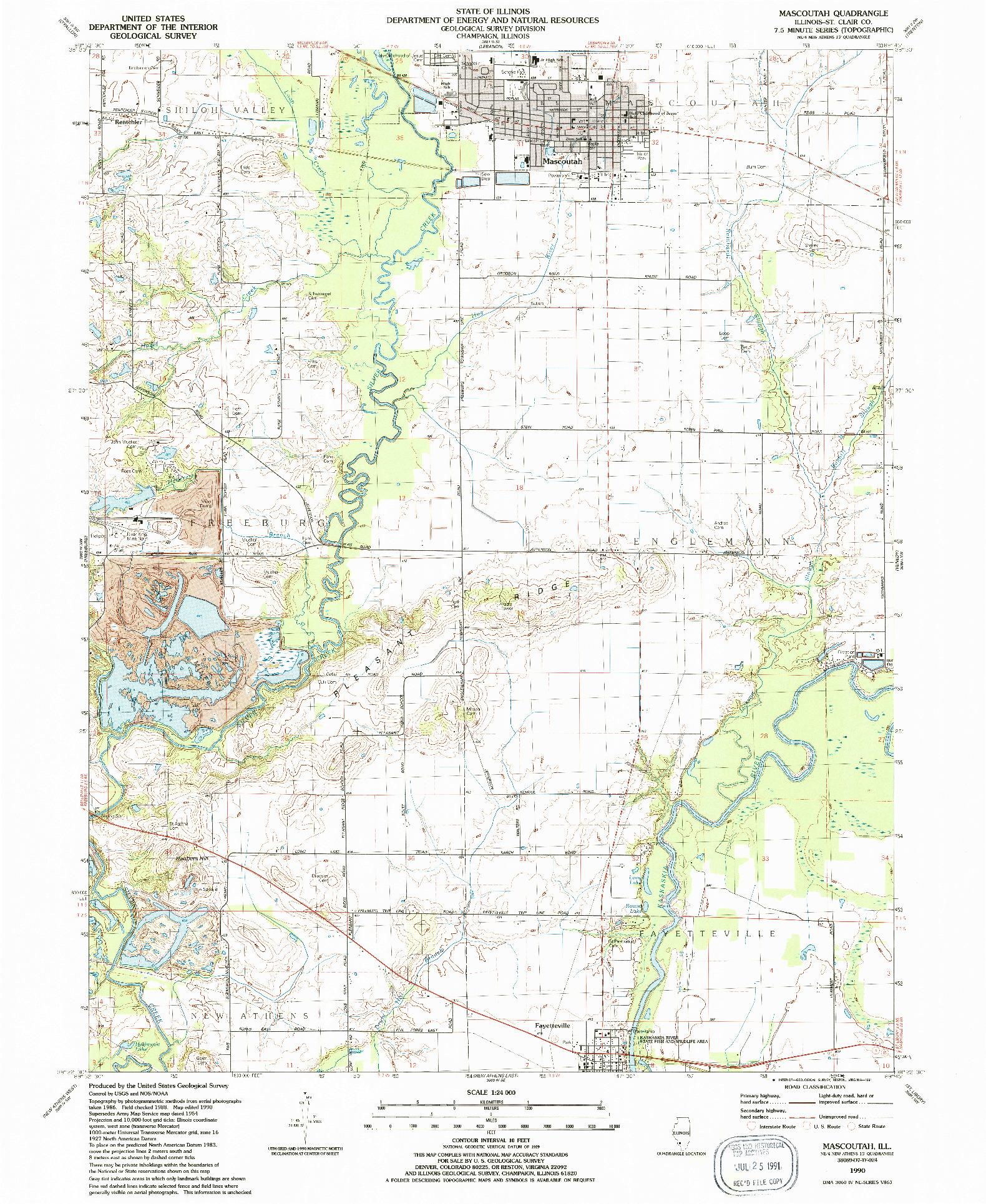 USGS 1:24000-SCALE QUADRANGLE FOR MASCOUTAH, IL 1990