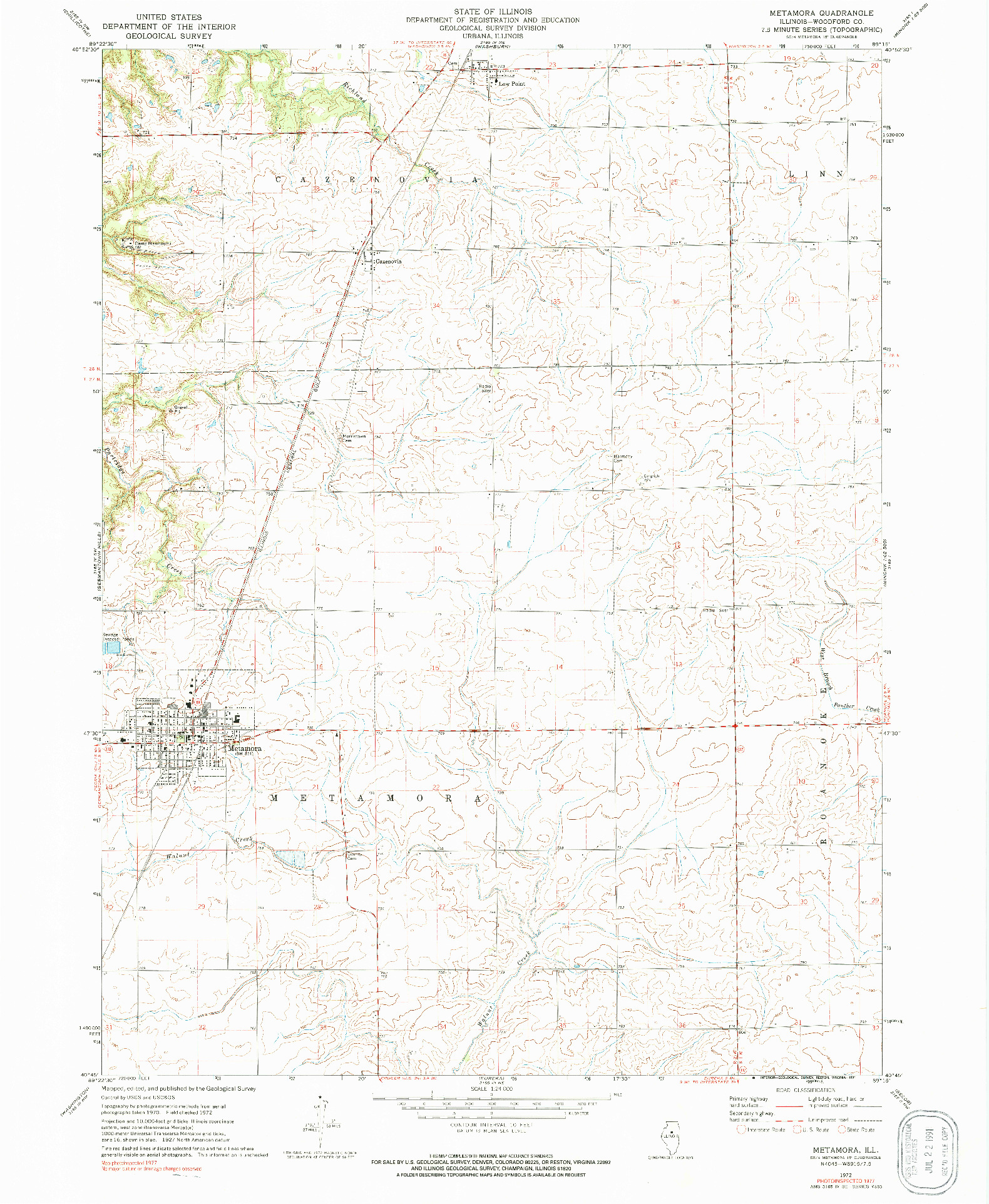 USGS 1:24000-SCALE QUADRANGLE FOR METAMORA, IL 1972