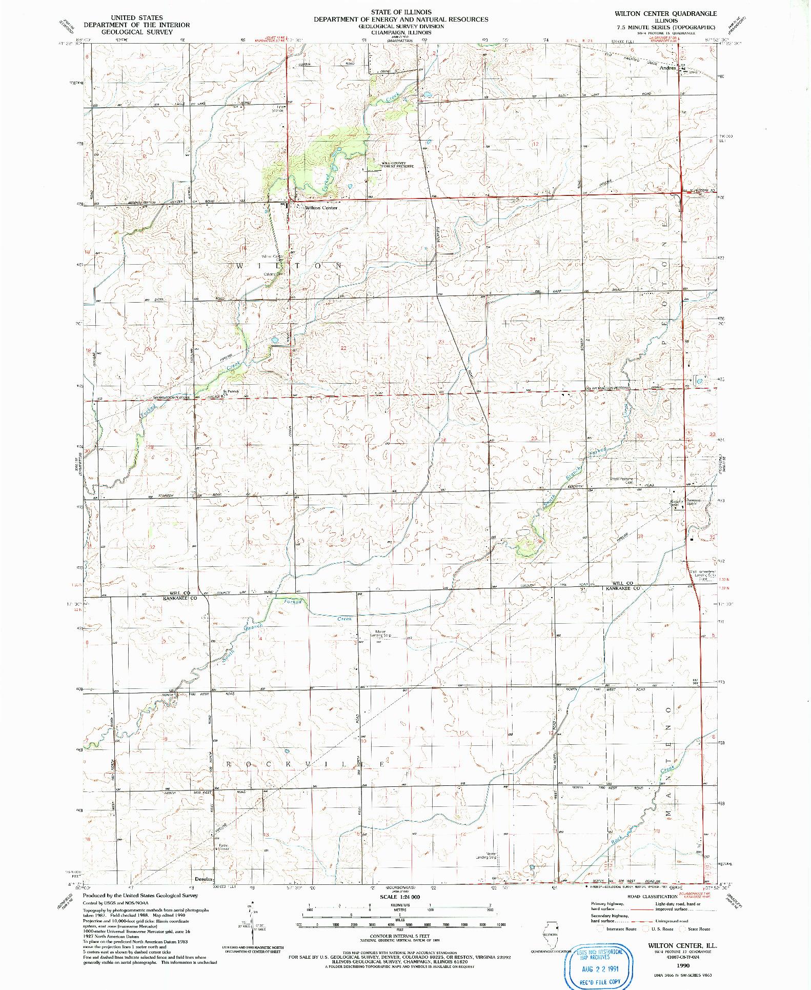 USGS 1:24000-SCALE QUADRANGLE FOR WILTON CENTER, IL 1990