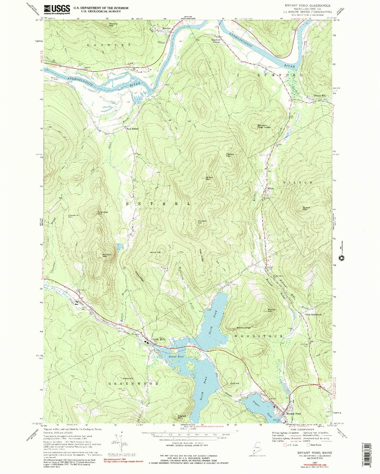 USGS 1:24000-SCALE QUADRANGLE FOR BRYANT POND, ME 1967