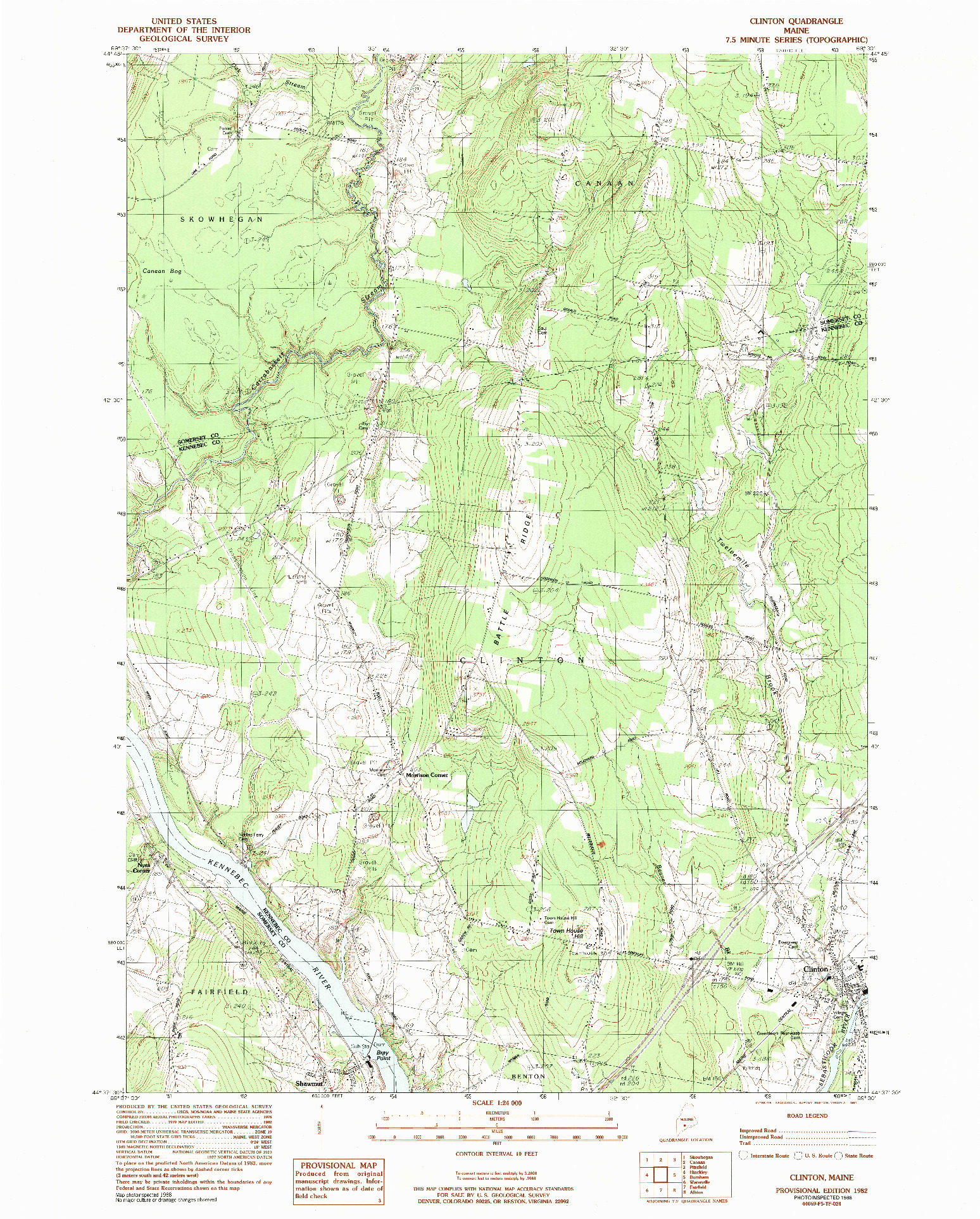 USGS 1:24000-SCALE QUADRANGLE FOR CLINTON, ME 1982