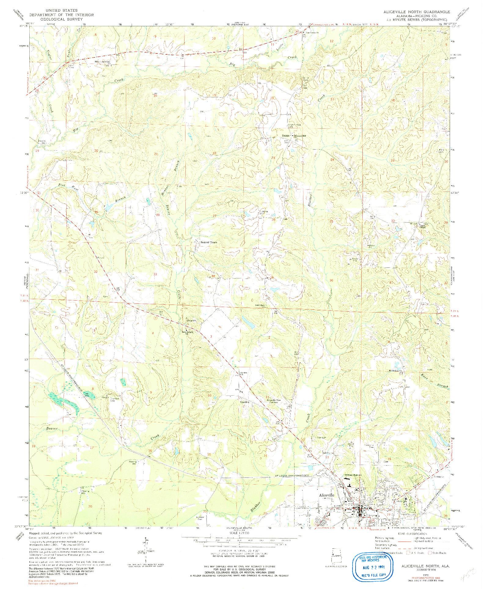 USGS 1:24000-SCALE QUADRANGLE FOR ALICEVILLE NORTH, AL 1970