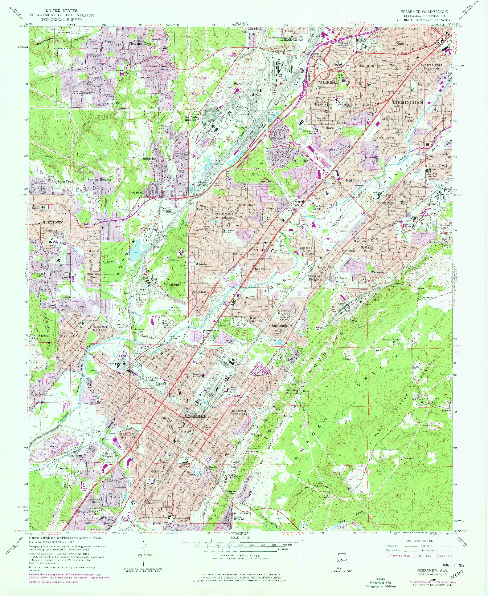 USGS 1:24000-SCALE QUADRANGLE FOR BESSEMER, AL 1959