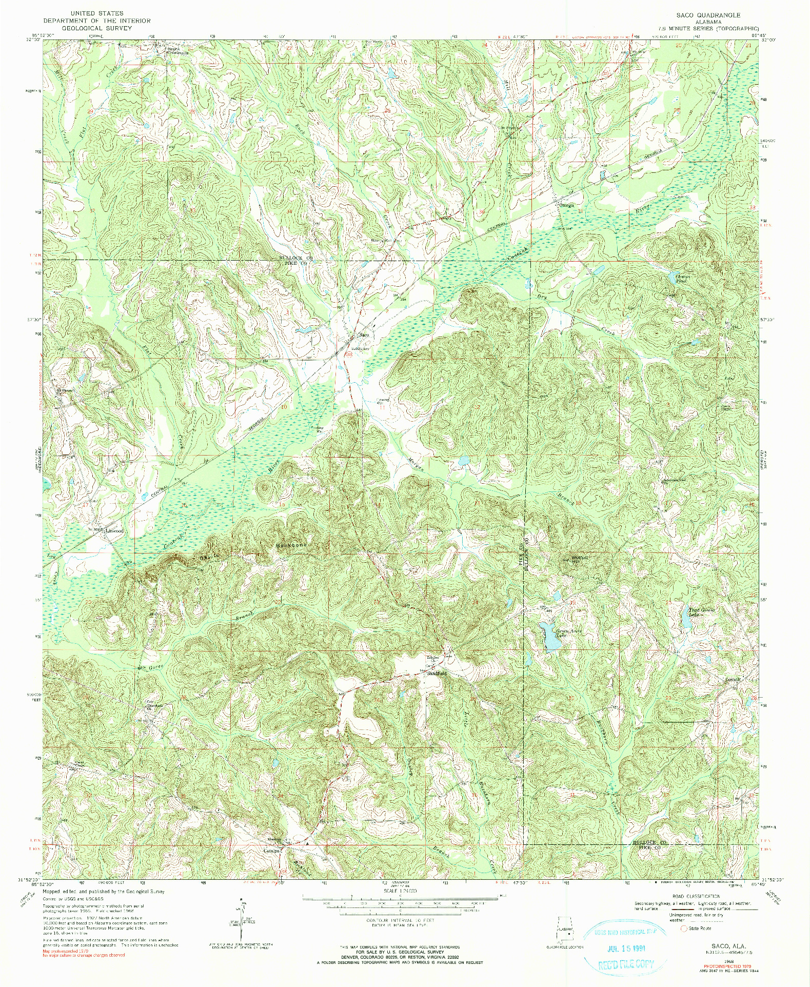 USGS 1:24000-SCALE QUADRANGLE FOR SACO, AL 1968
