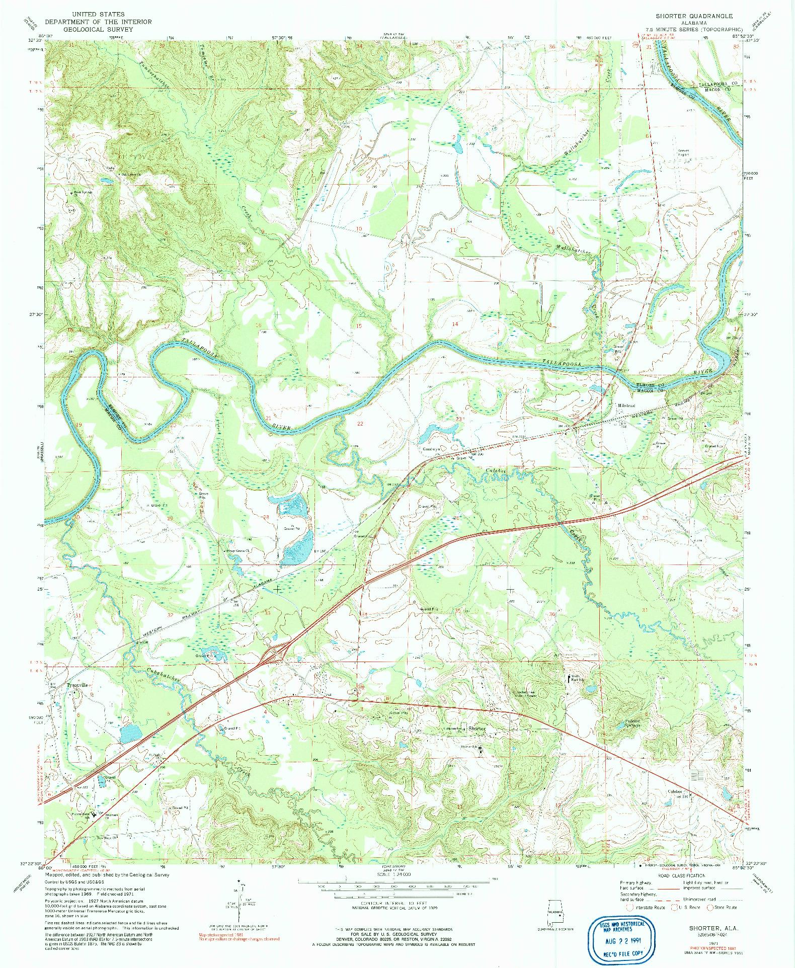 USGS 1:24000-SCALE QUADRANGLE FOR SHORTER, AL 1971