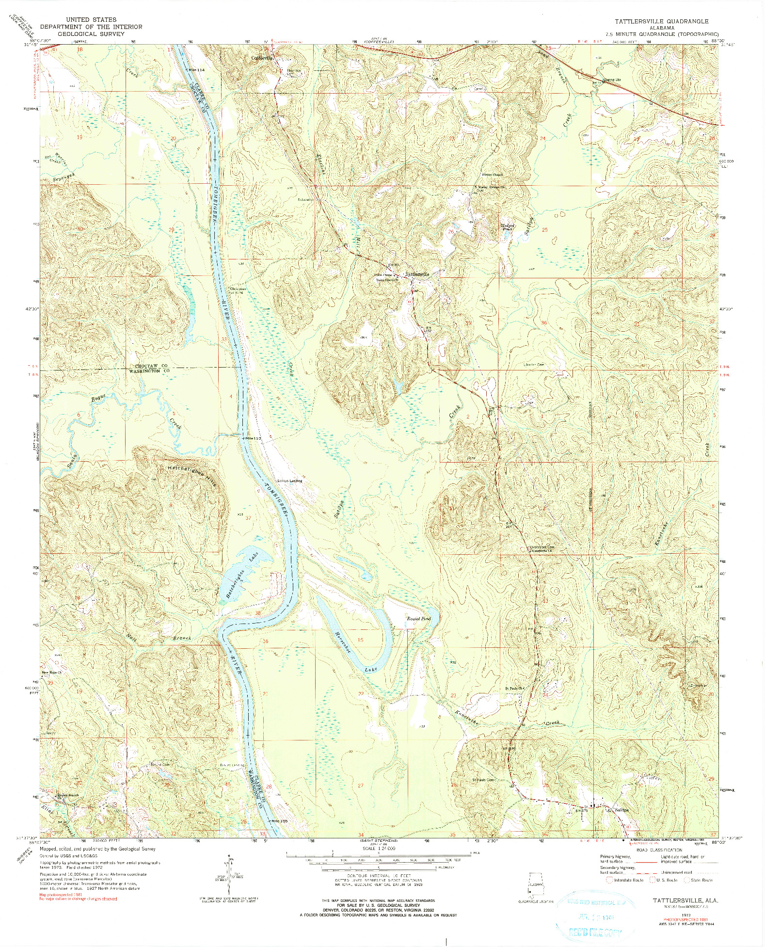 USGS 1:24000-SCALE QUADRANGLE FOR TATTLERSVILLE, AL 1972