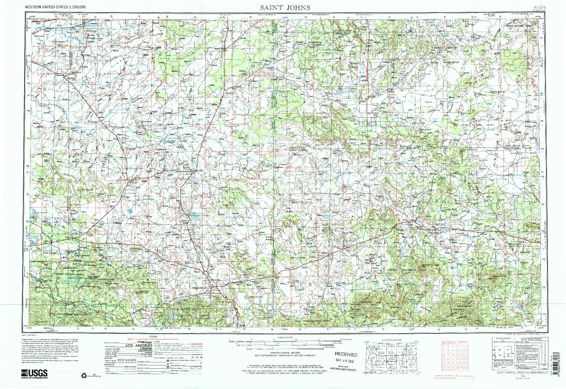USGS 1:250000-SCALE QUADRANGLE FOR SAINT JOHNS, AZ 1954