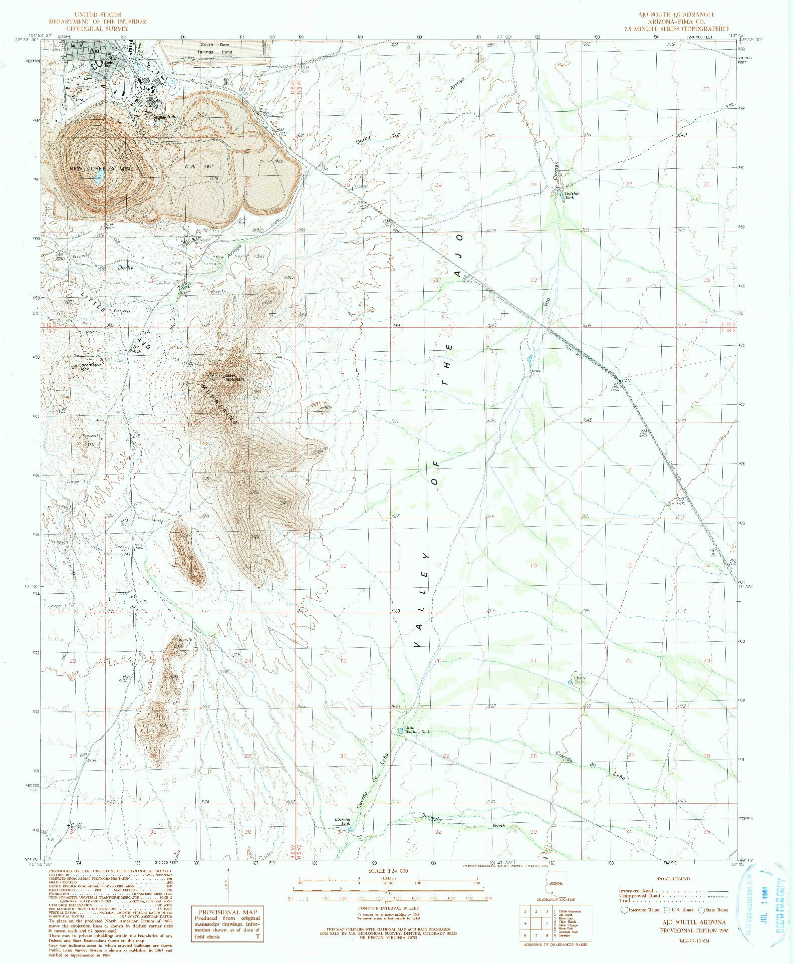 USGS 1:24000-SCALE QUADRANGLE FOR AJO SOUTH, AZ 1990
