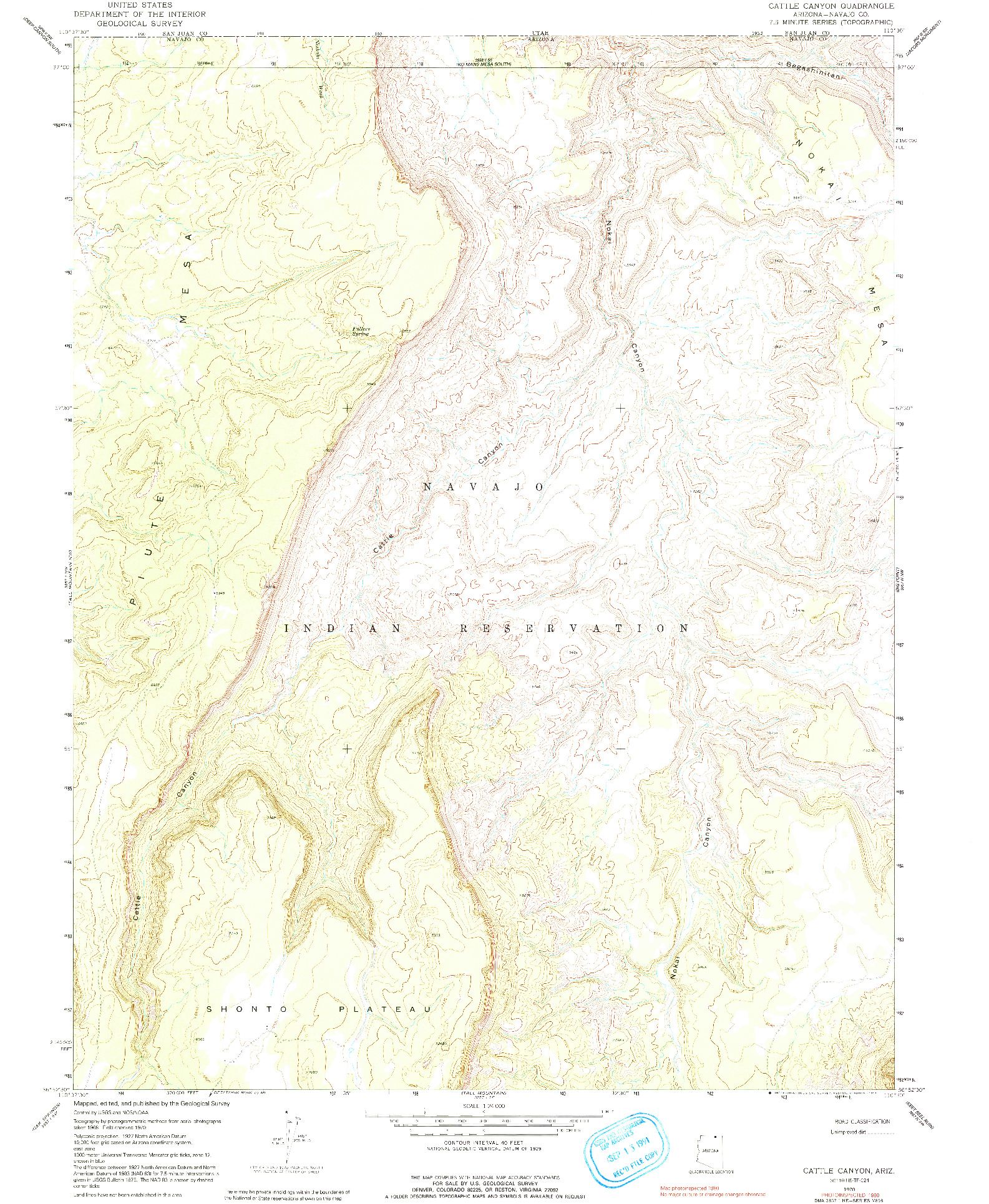 USGS 1:24000-SCALE QUADRANGLE FOR CATTLE CANYON, AZ 1970