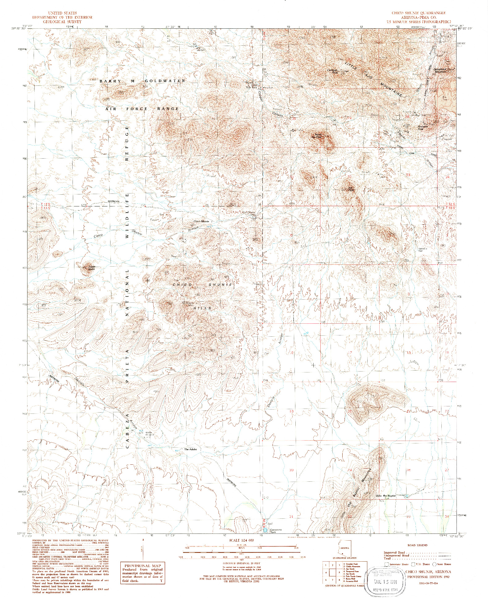 USGS 1:24000-SCALE QUADRANGLE FOR CHICO SHUNIE, AZ 1990