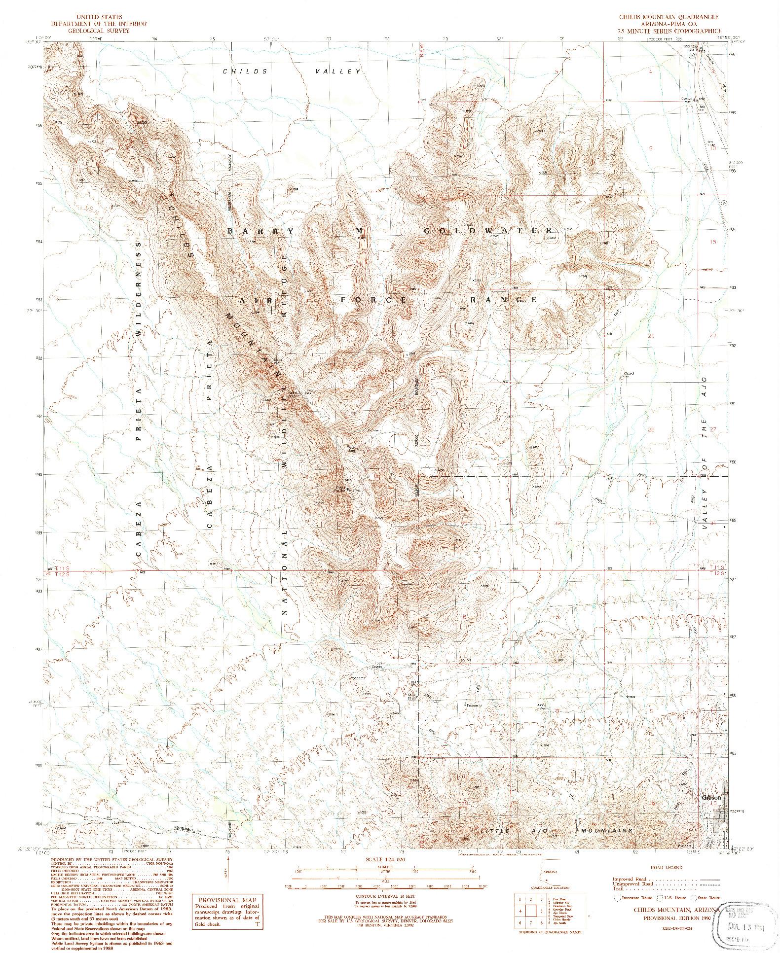 USGS 1:24000-SCALE QUADRANGLE FOR CHILDS MOUNTAIN, AZ 1990