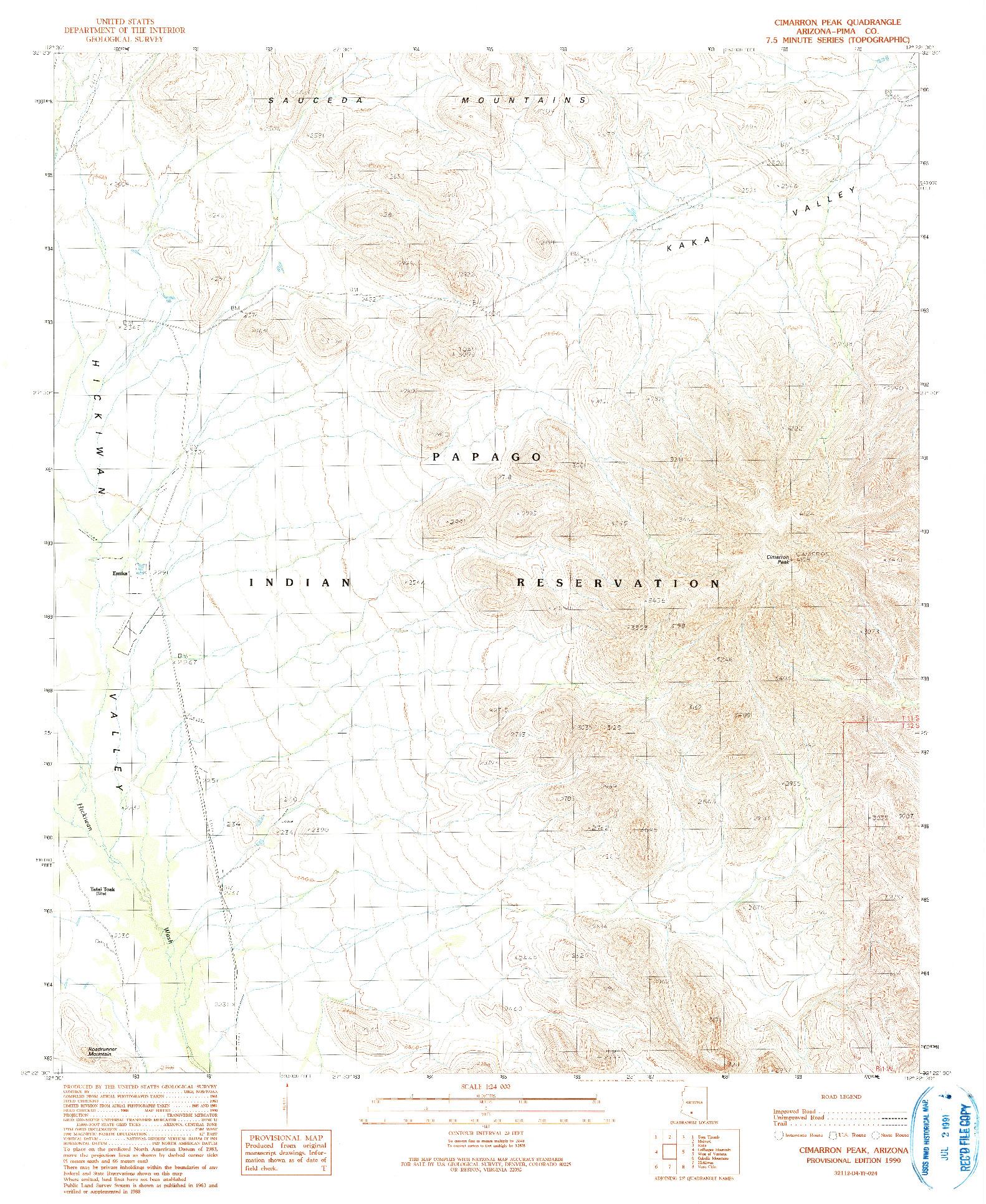USGS 1:24000-SCALE QUADRANGLE FOR CIMARRON PEAK, AZ 1990