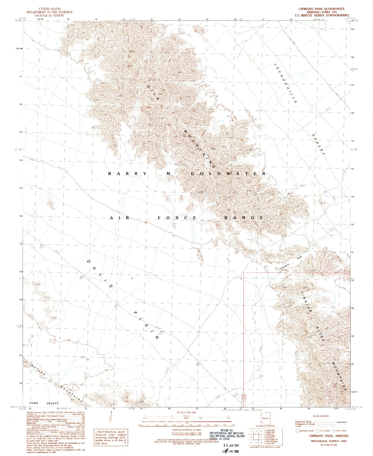 USGS 1:24000-SCALE QUADRANGLE FOR CIPRIANO PASS, AZ 1990