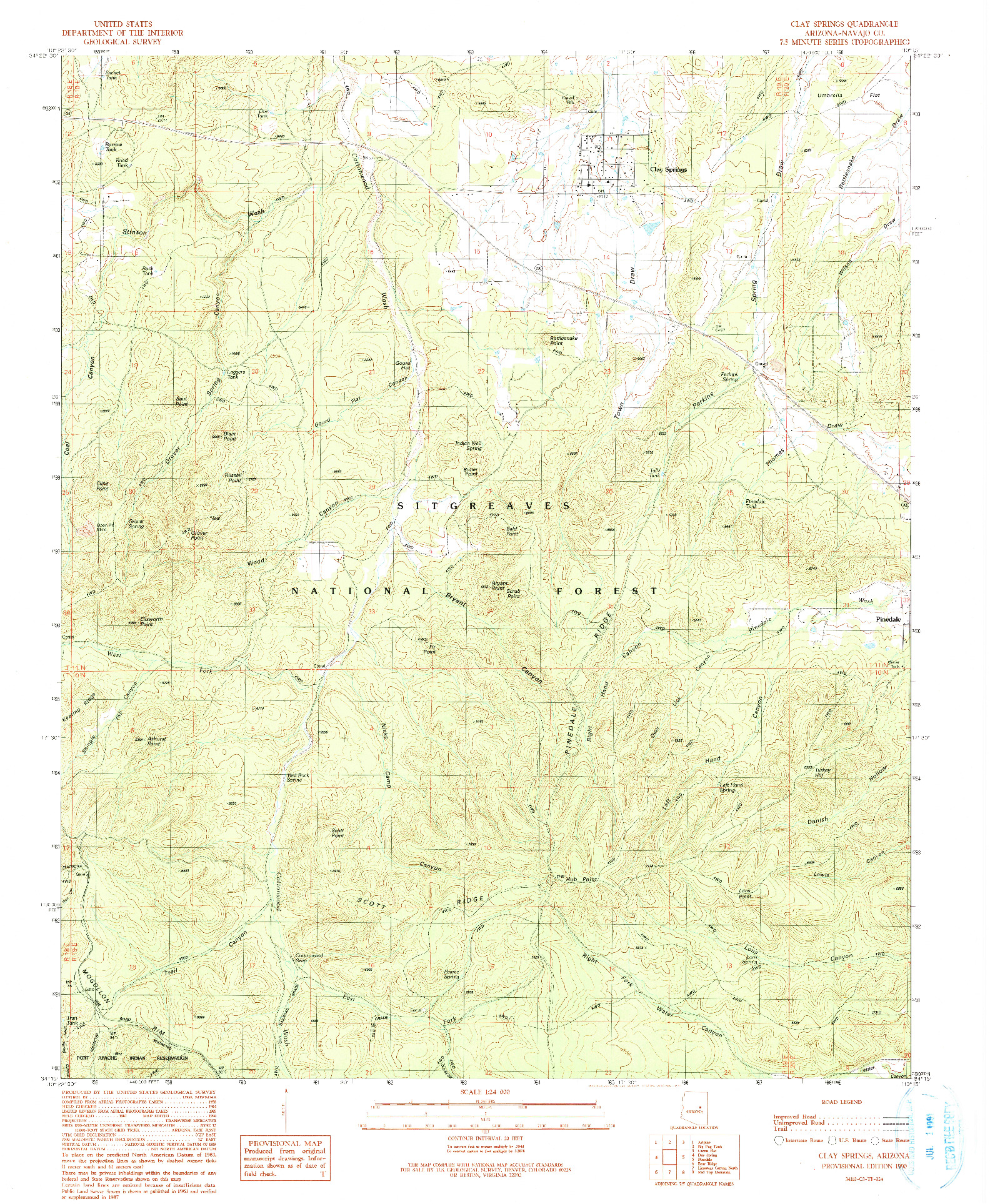 USGS 1:24000-SCALE QUADRANGLE FOR CLAY SPRINGS, AZ 1990
