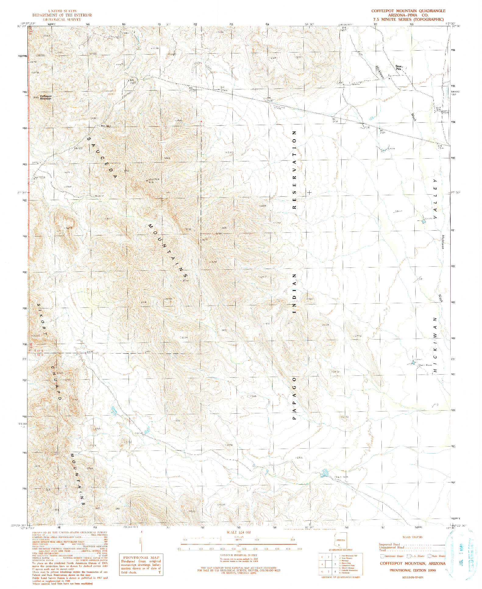 USGS 1:24000-SCALE QUADRANGLE FOR COFFEEPOT MOUNTAIN, AZ 1990