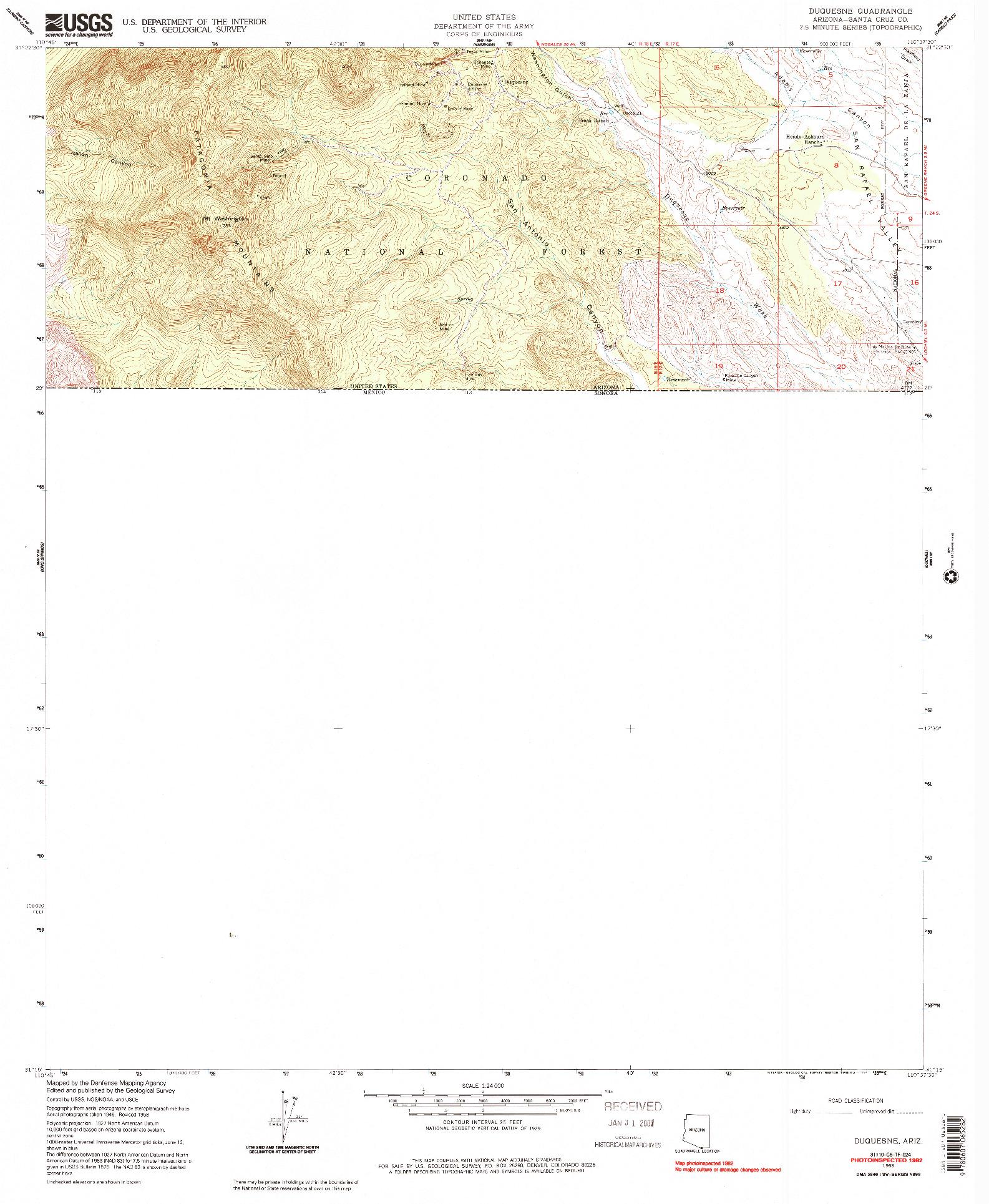 USGS 1:24000-SCALE QUADRANGLE FOR DUQUESNE, AZ 1958