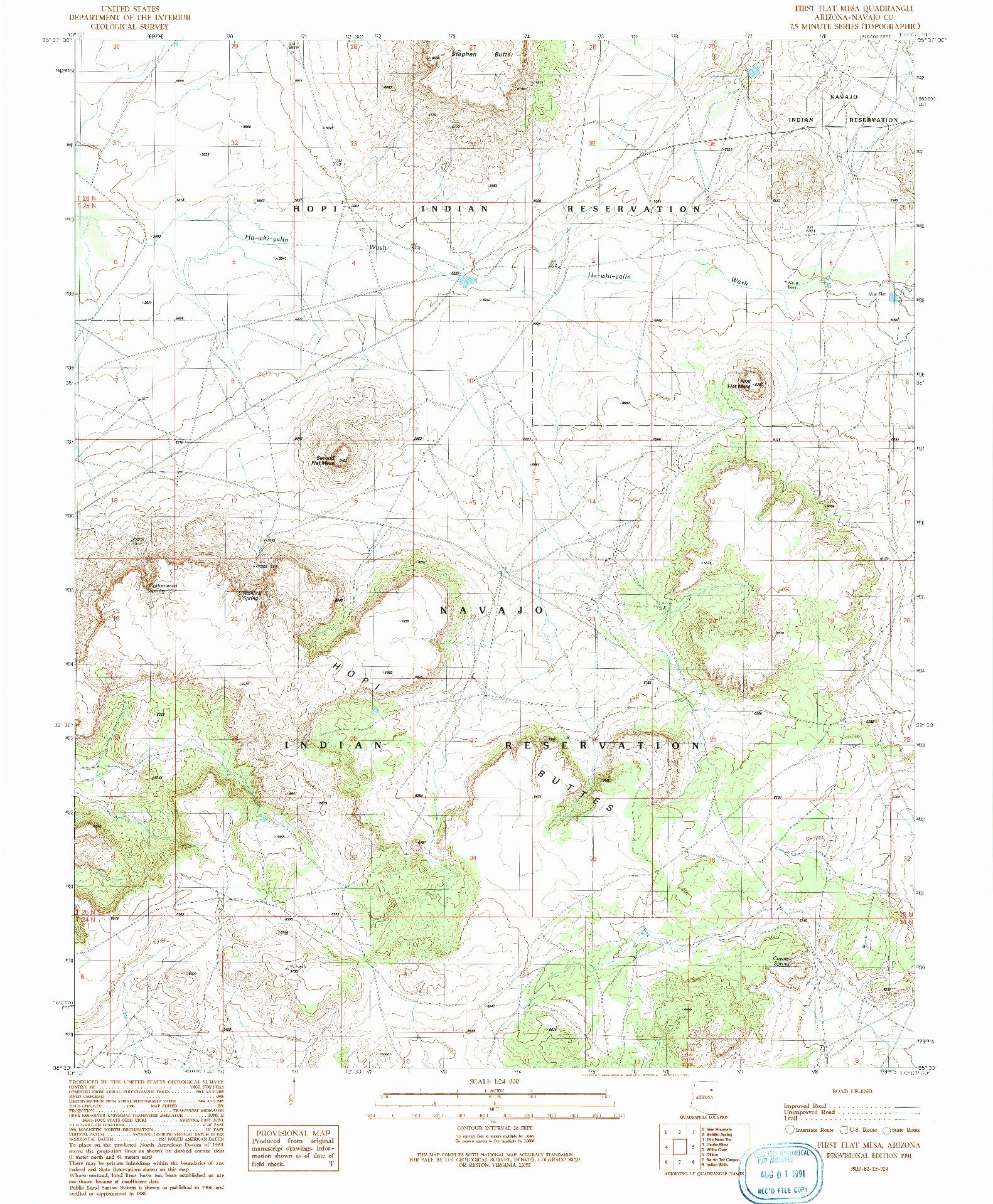 USGS 1:24000-SCALE QUADRANGLE FOR FIRST FLAT MESA, AZ 1991