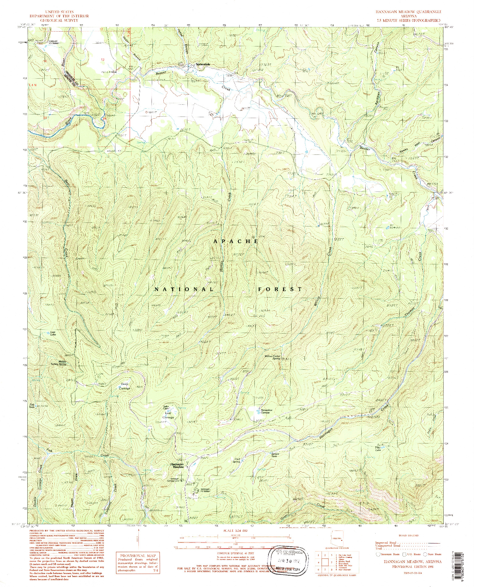 USGS 1:24000-SCALE QUADRANGLE FOR HANNAGAN MEADOW, AZ 1991