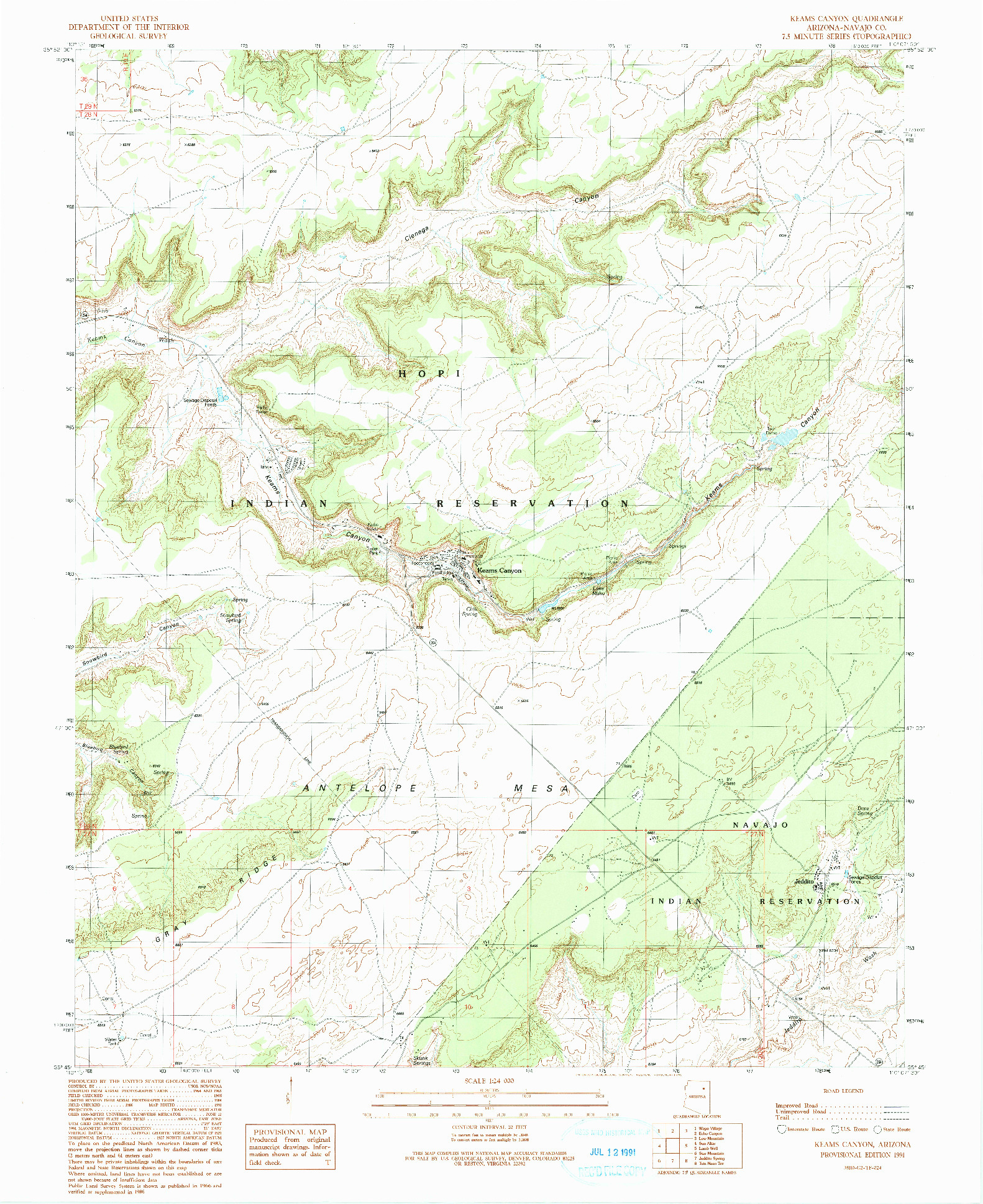 USGS 1:24000-SCALE QUADRANGLE FOR KEAMS CANYON, AZ 1991