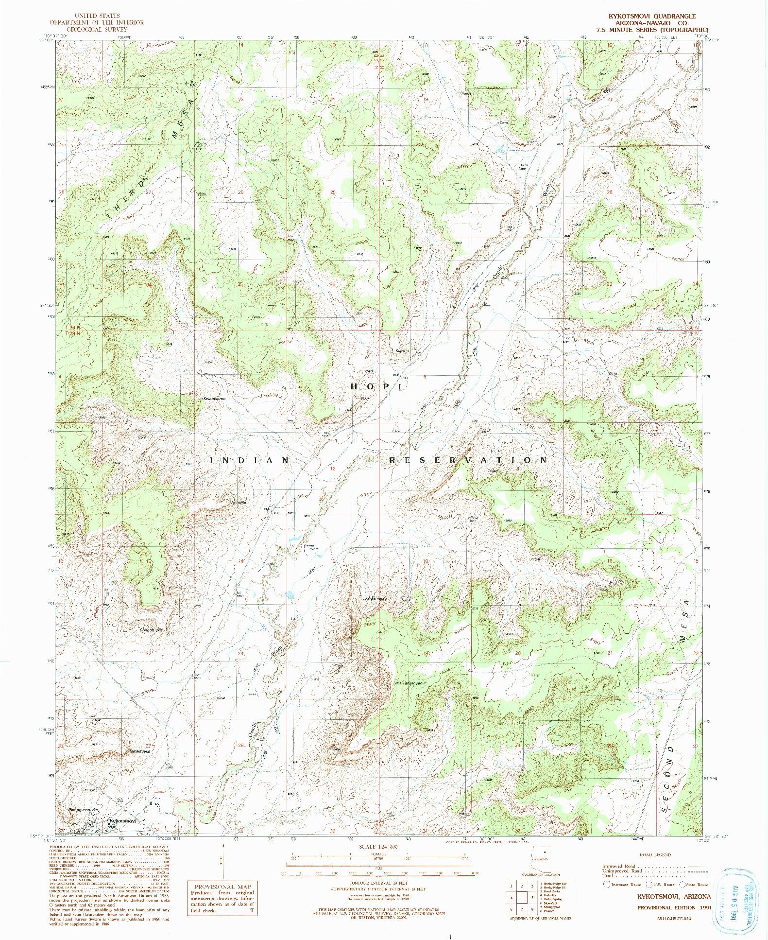 USGS 1:24000-SCALE QUADRANGLE FOR KYKOTSMOVI, AZ 1991
