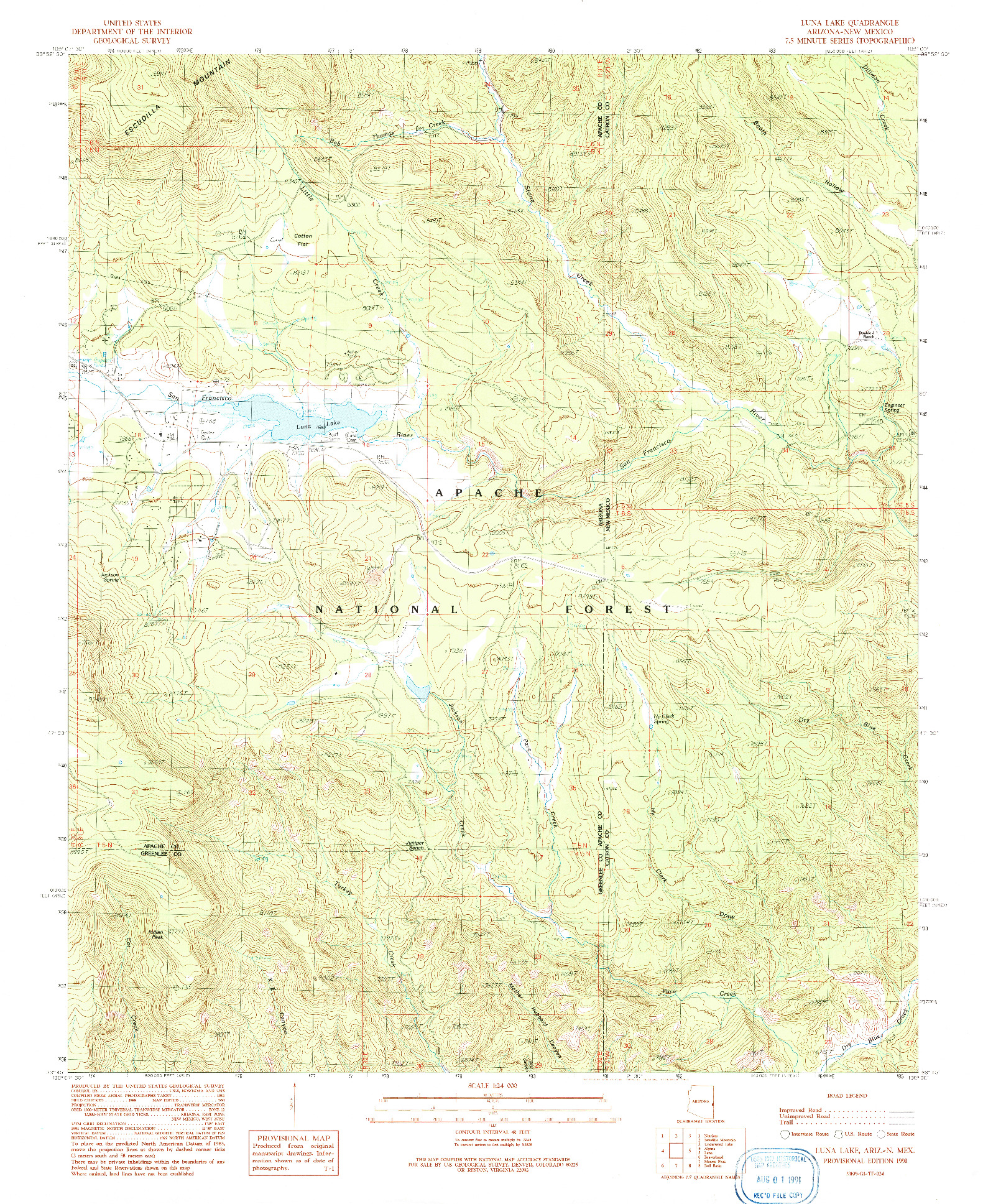 USGS 1:24000-SCALE QUADRANGLE FOR LUNA LAKE, AZ 1991